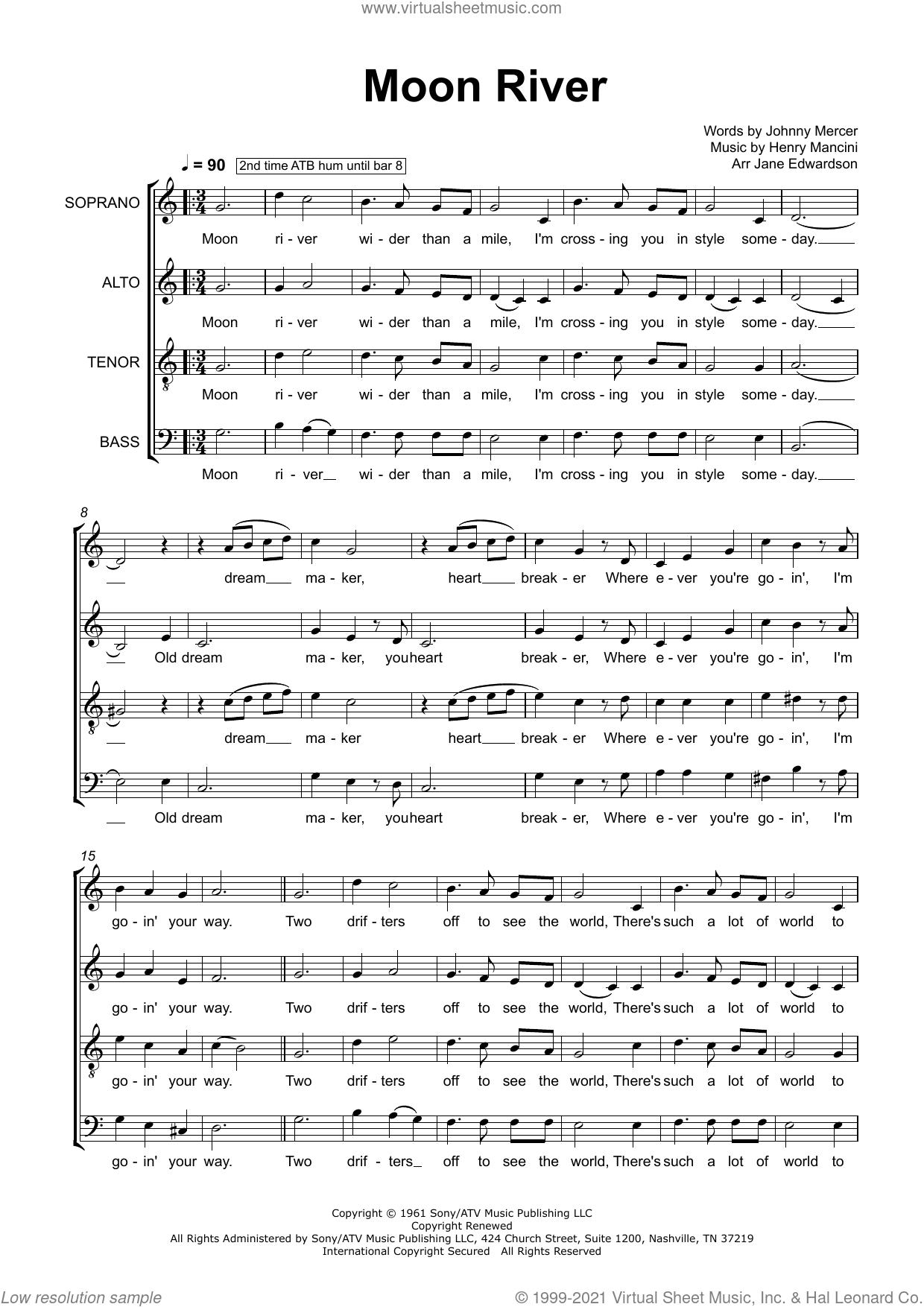 Moon River (arr. Jane Edwardson) sheet music for choir (SATB: soprano, alto, tenor, bass) by Henry Mancini, Jane Edwardson and Johnny Mercer, intermediate skill level
