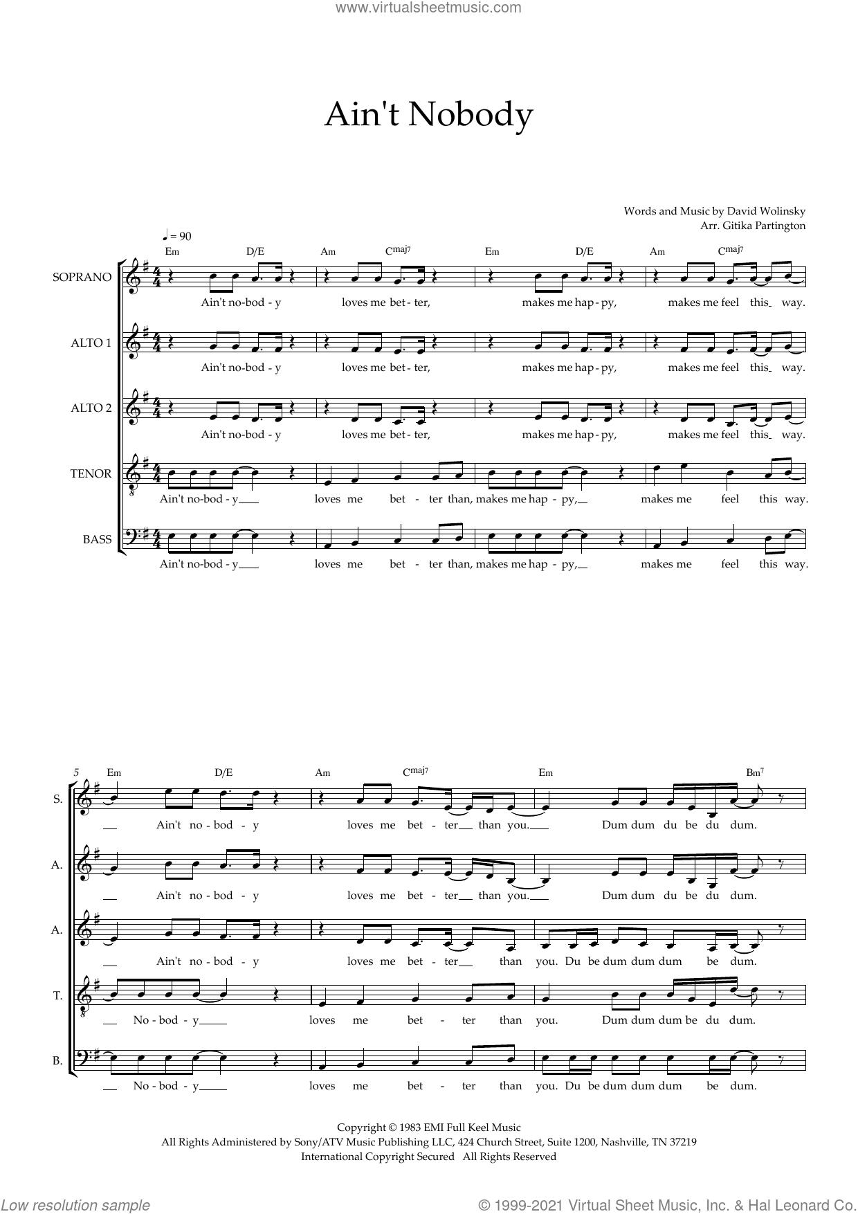 Ain't Nobody (arr. Gitika Partington) sheet music for choir (SAATB) by Chaka Khan, Gitika Partington and David Wolinski, intermediate skill level