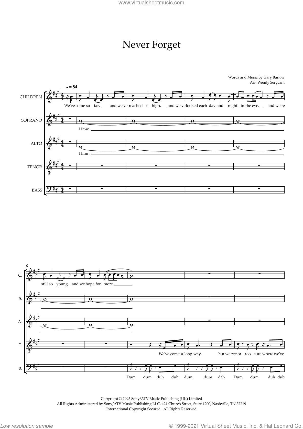 Never Forget (arr. Wendy Sergeant) sheet music for choir (SSATB) by Take That, Wendy Sergeant and Gary Barlow, intermediate skill level