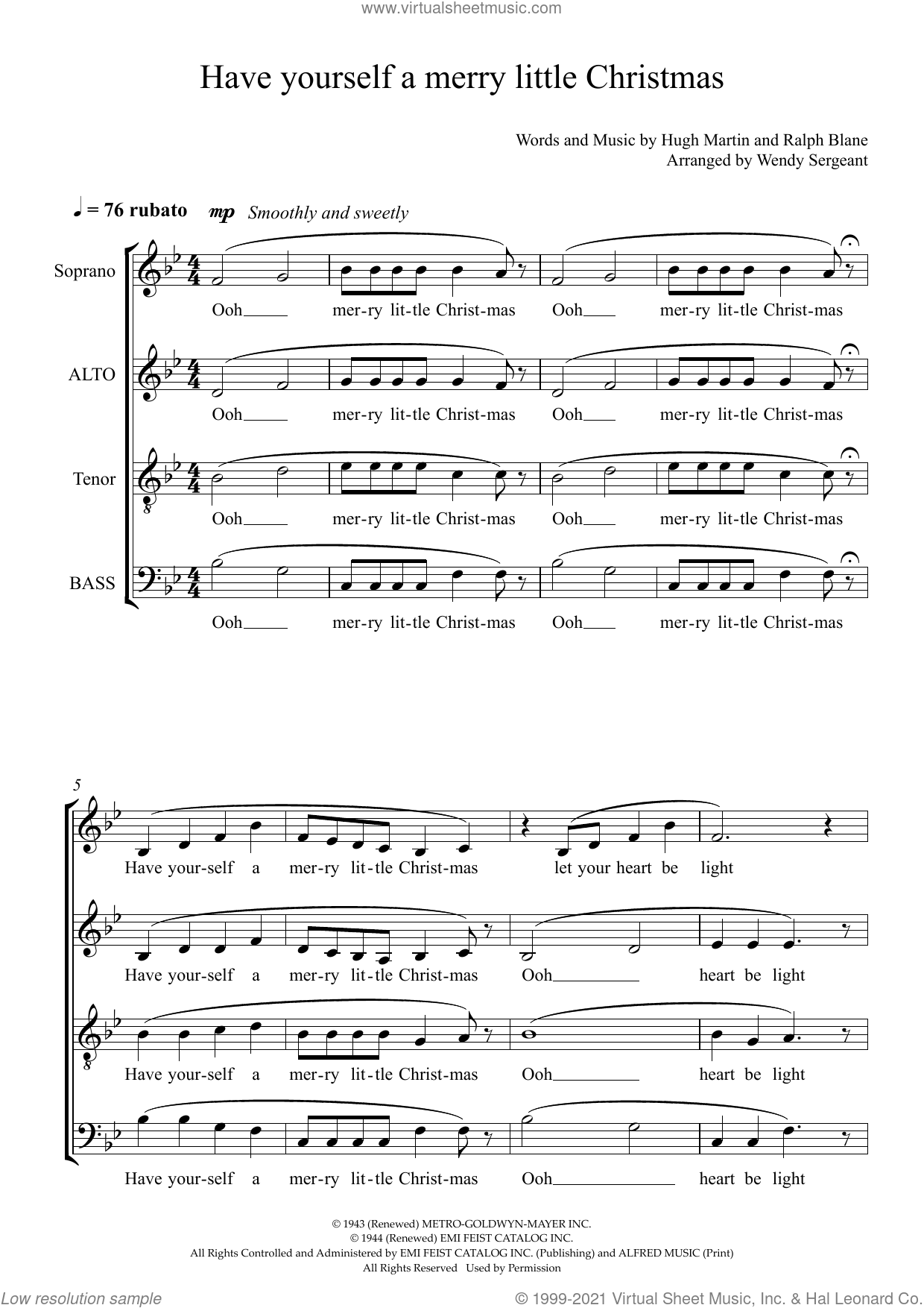 Have Yourself a Merry Little Christmas (arr. Wendy Sergeant) sheet music for choir (SATB: soprano, alto, tenor, bass) by Frank Sinatra, Wendy Sergeant, Hugh Martin and Ralph Blane, intermediate skill level