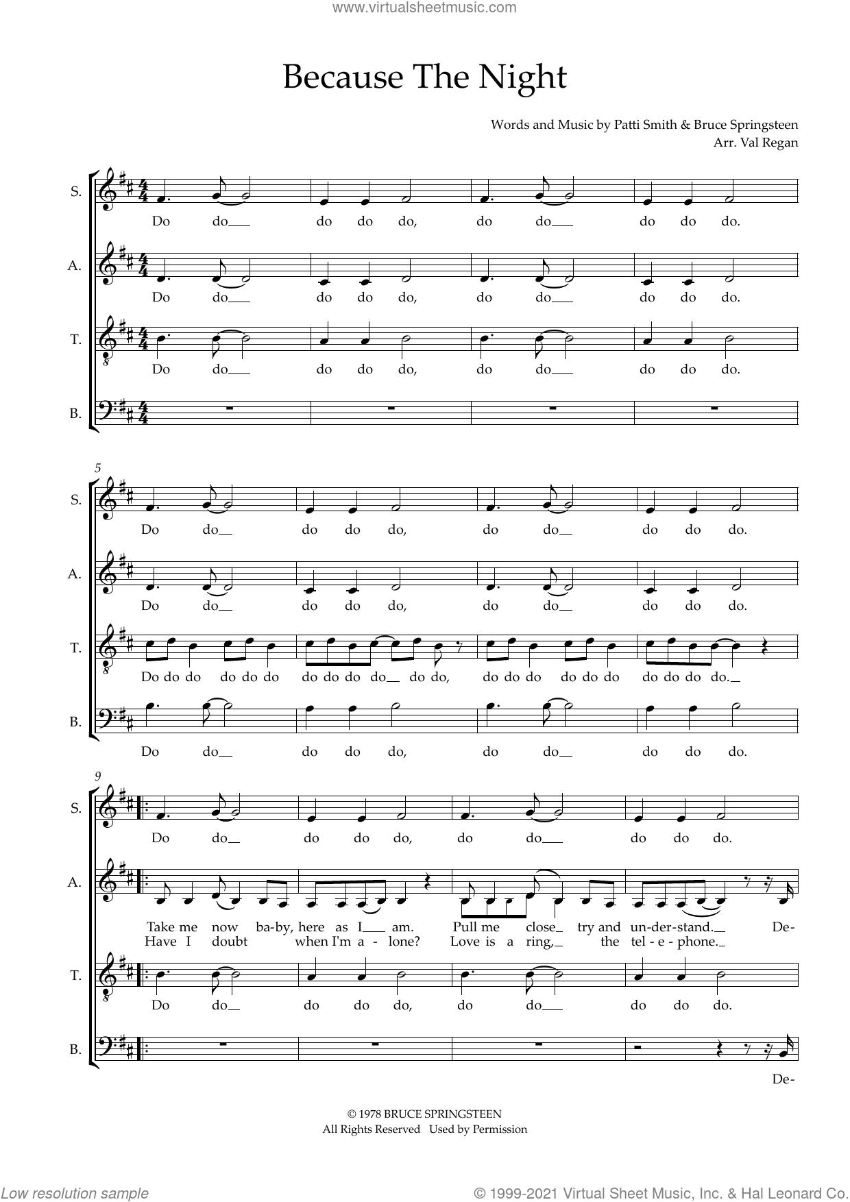 Because The Night (arr. Val Regan) sheet music for choir (SATB: soprano, alto, tenor, bass) by Patti Smith, Val Regan and Bruce Springsteen, intermediate skill level