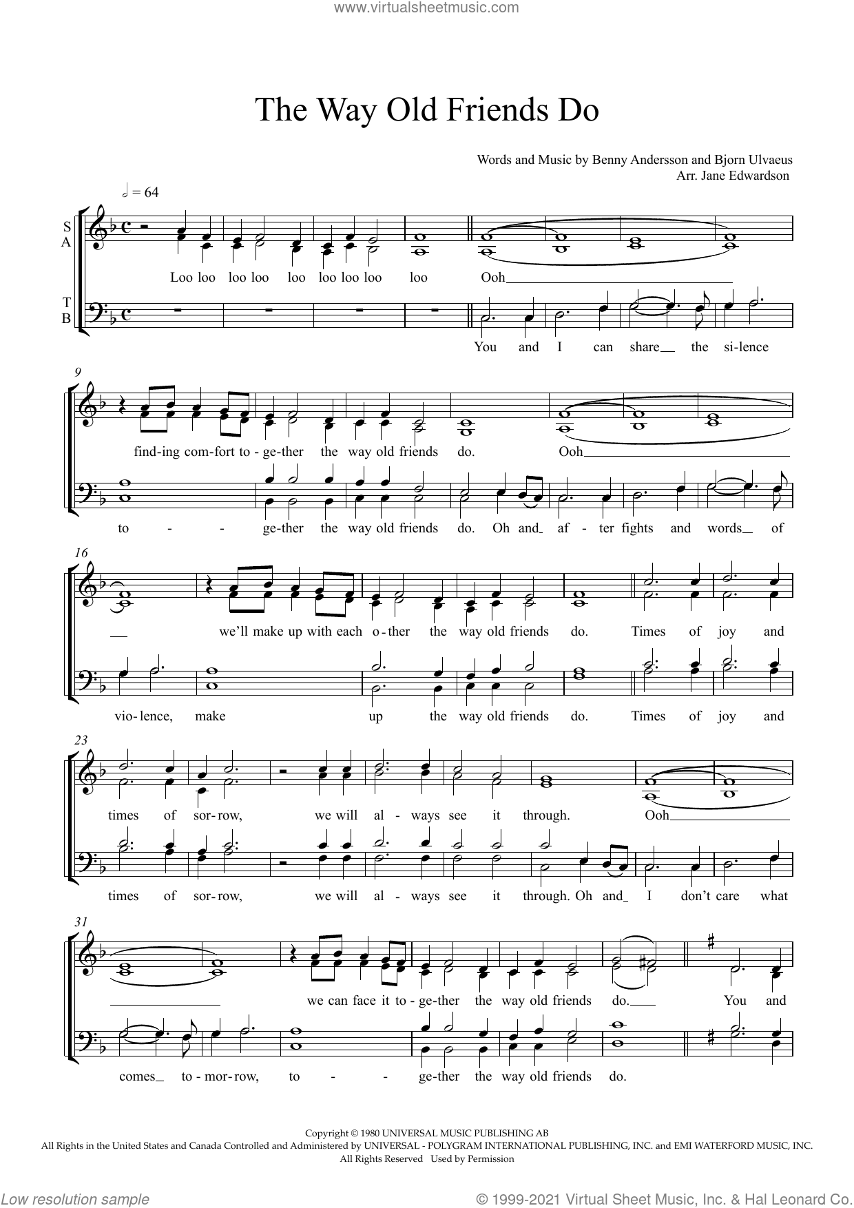 The Way Old Friends Do (arr. Jane Edwardson) sheet music for choir (SATB: soprano, alto, tenor, bass) by ABBA, Jane Edwardson, Benny Andersson and Bjorn Ulvaeus, intermediate skill level