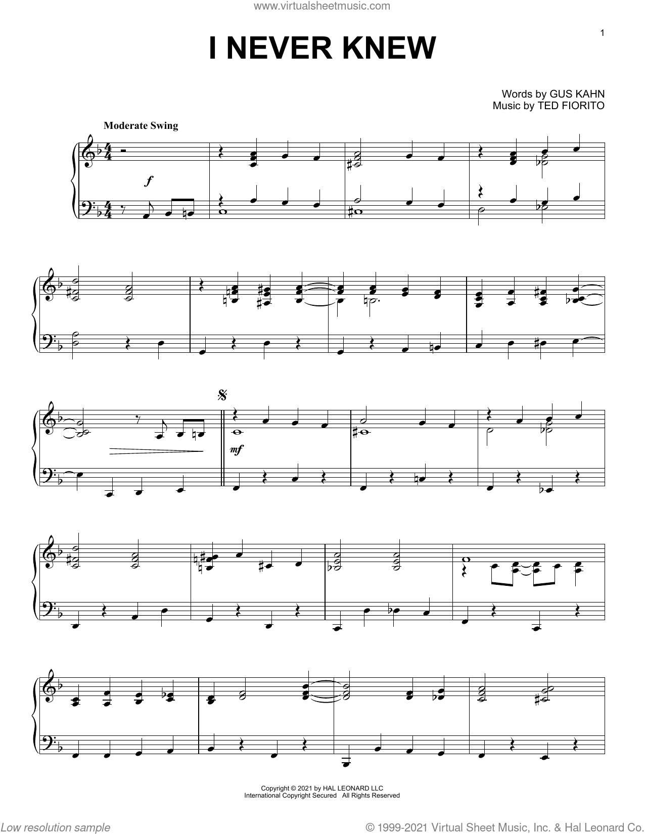 I Never Knew sheet music for piano solo by Gus Kahn and Ted Fiorito, Ted Fiorito and Gus Kahn, intermediate skill level