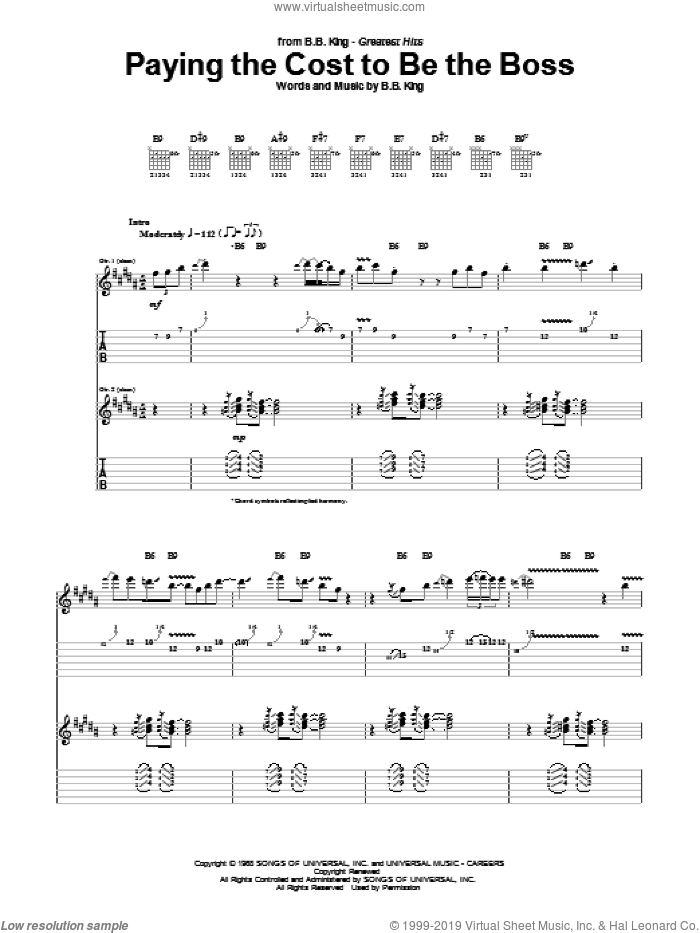 Paying The Cost To Be The Boss sheet music for guitar (tablature) by B.B. King, intermediate