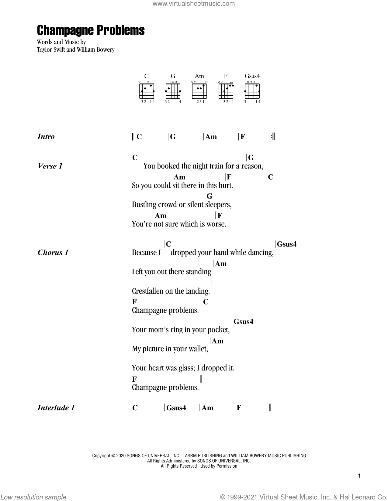 champagne problems sheet music for guitar (chords) by Taylor Swift and William Bowery, intermediate skill level