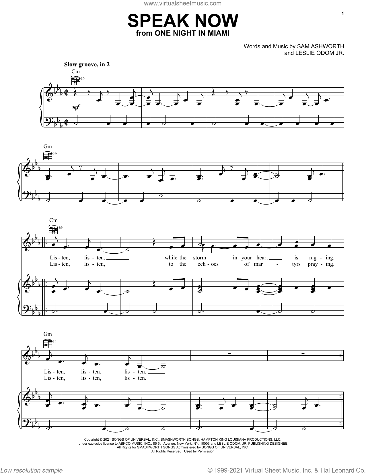 Speak Now (from One Night In Miami...) sheet music for voice, piano or guitar by Leslie Odom Jr. and Sam Ashworth, intermediate skill level