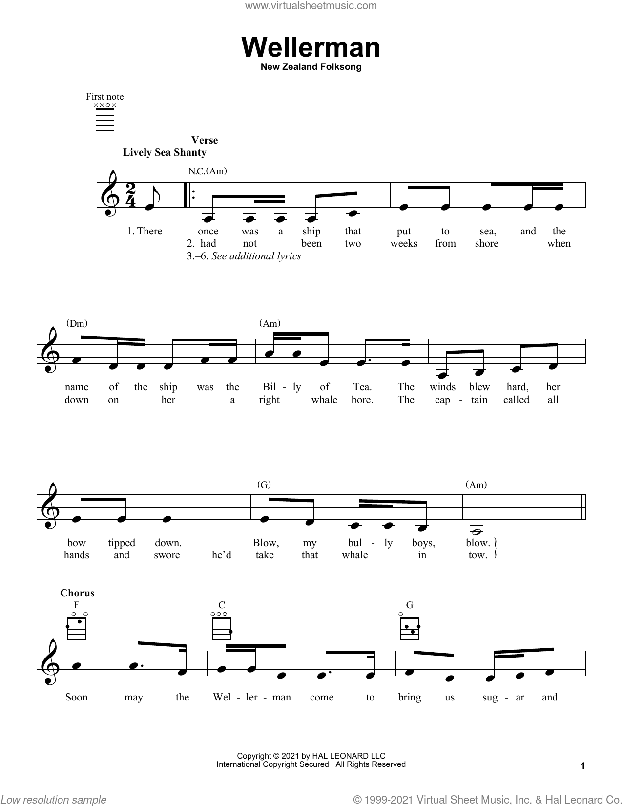 Wellerman sheet music for ukulele by New Zealand Folksong, intermediate skill level