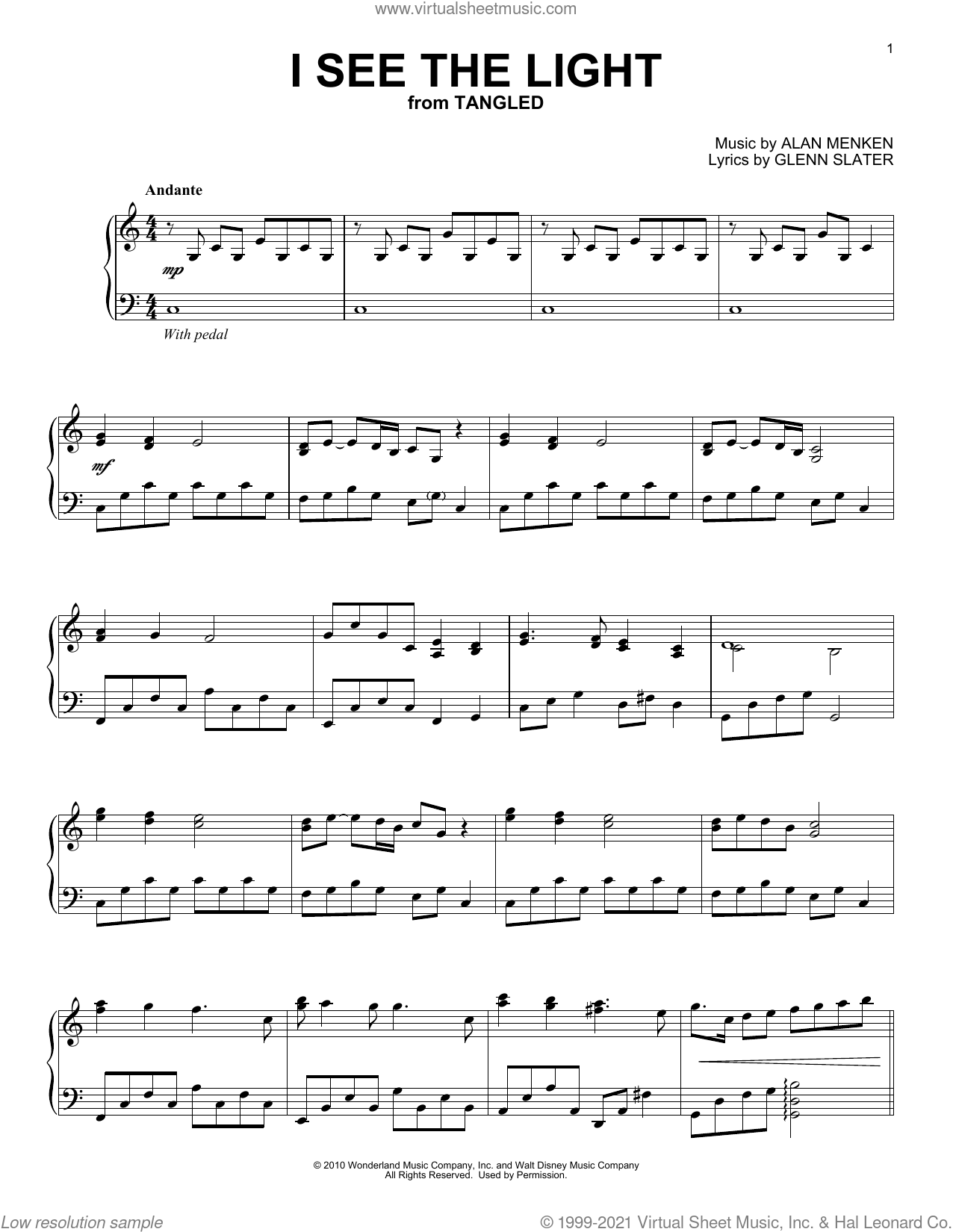 I See The Light (from Tangled) [Classical version] sheet music for piano solo by Alan Menken and Glenn Slater, classical score, intermediate skill level