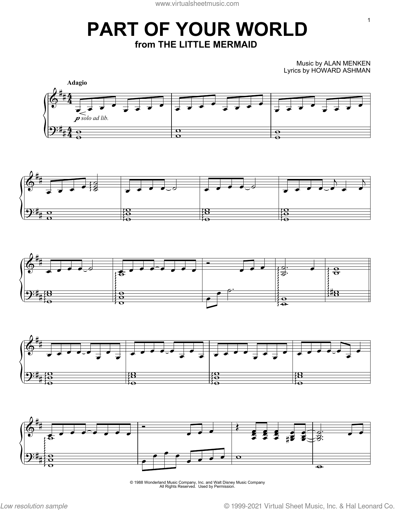 Part Of Your World (from The Little Mermaid) [Classical version] sheet music for piano solo by Alan Menken, Kaori Muraji and Howard Ashman, classical score, intermediate skill level
