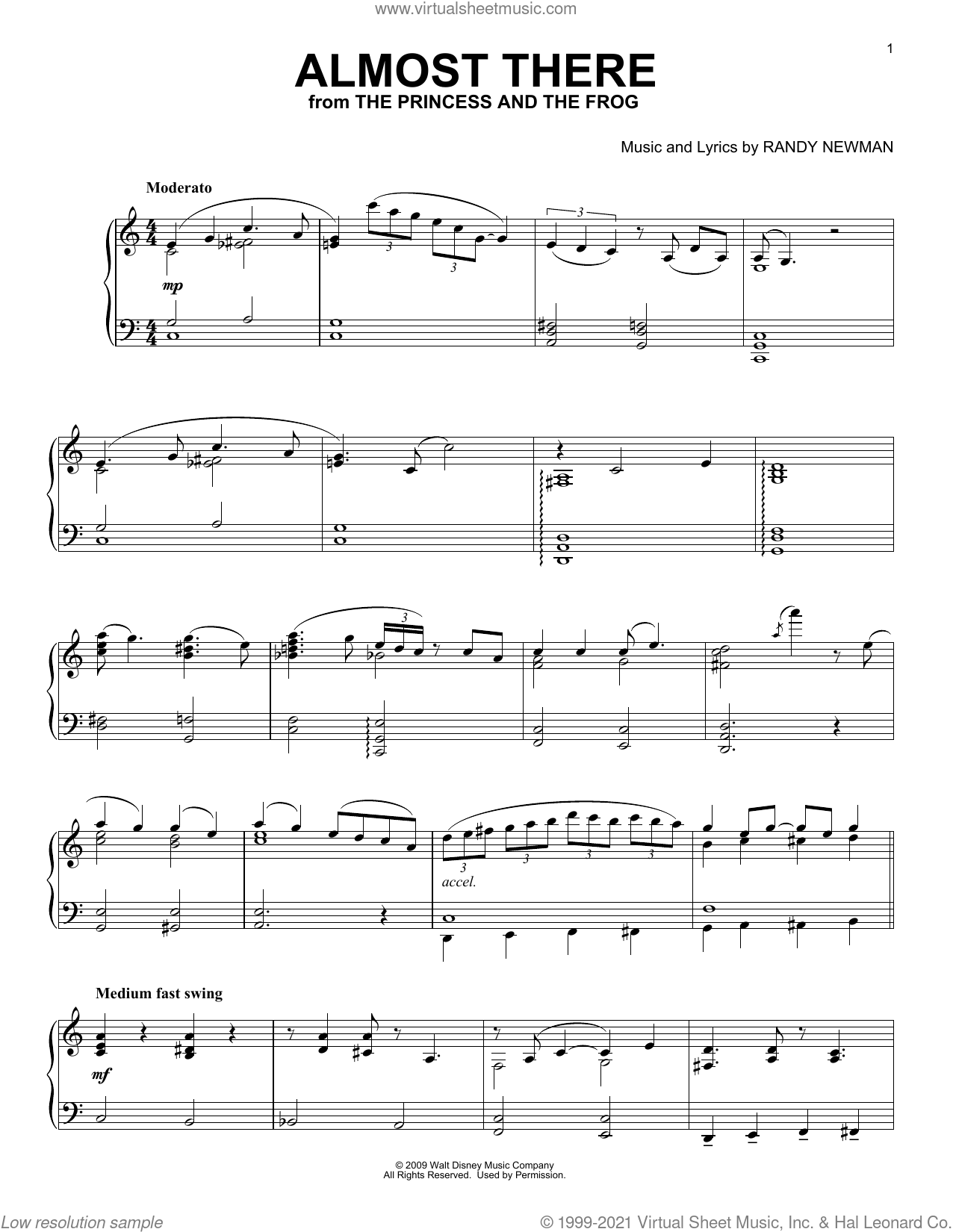 Almost There (from The Princess And The Frog) [Classical version] sheet music for piano solo by Randy Newman, classical score, intermediate skill level