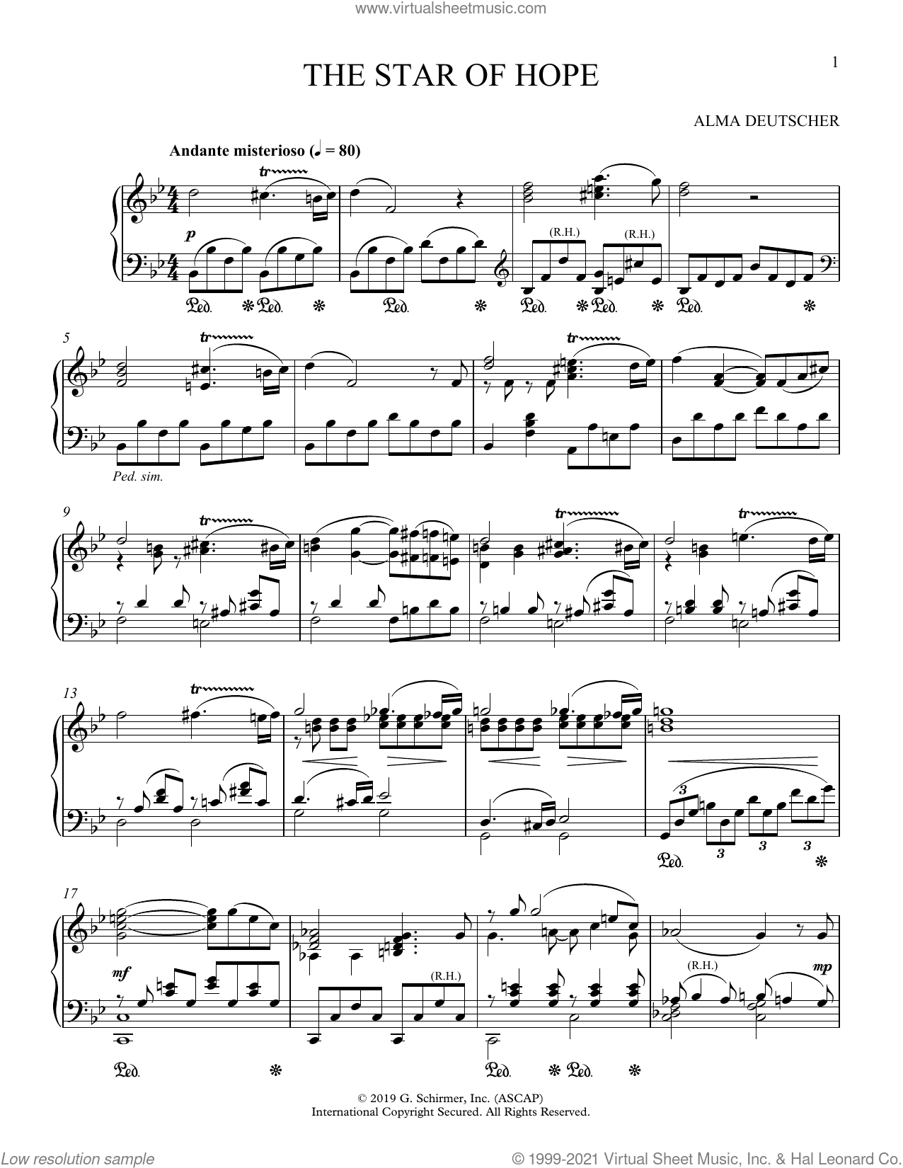 The Star Of Hope (from Cinderella) sheet music for piano solo by Alma Deutscher, classical score, intermediate skill level
