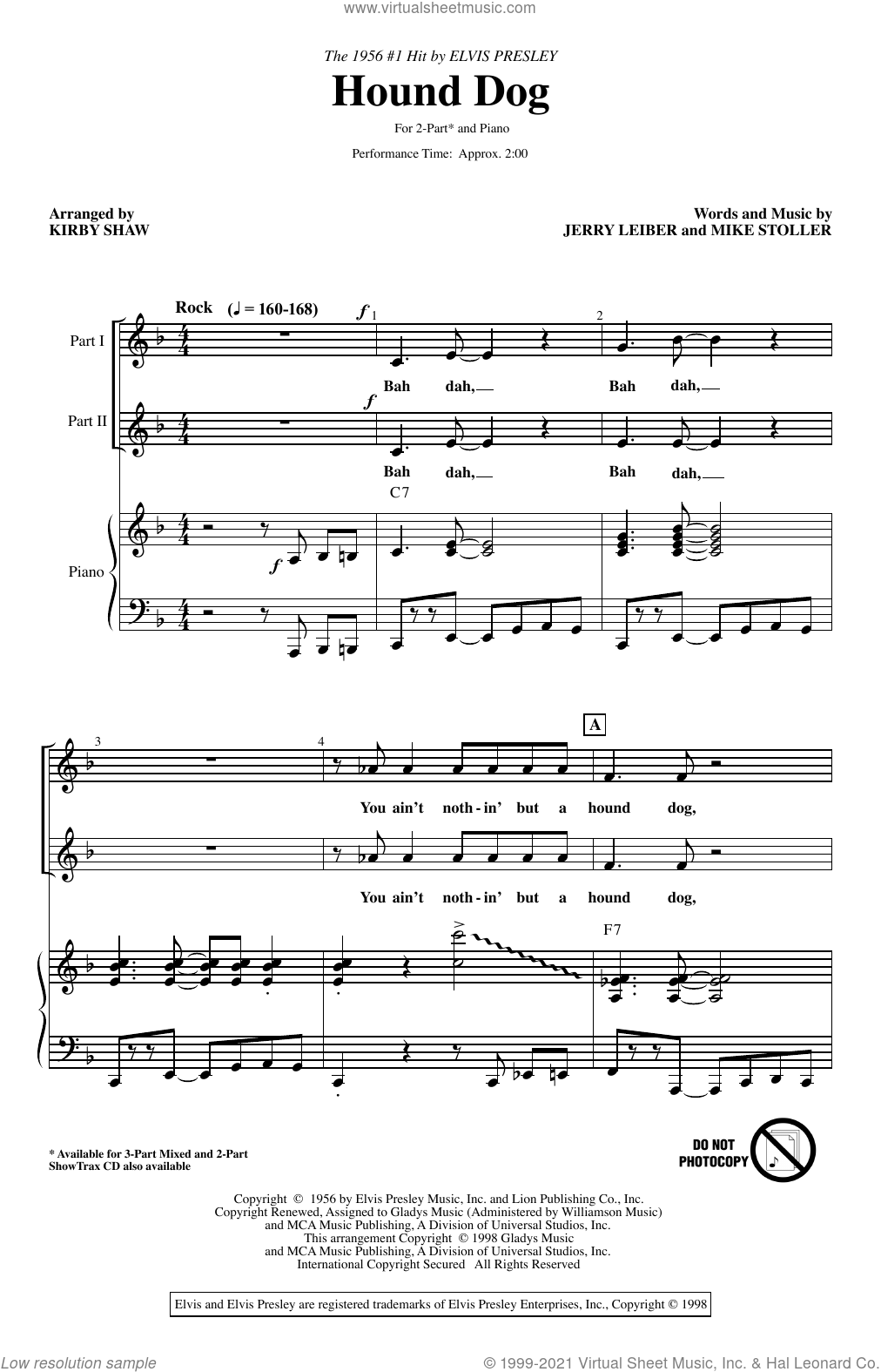 Hound Dog (arr. Kirby Shaw) sheet music for choir (2-Part) by Elvis Presley, Kirby Shaw, Jerry Leiber and Mike Stoller, intermediate duet