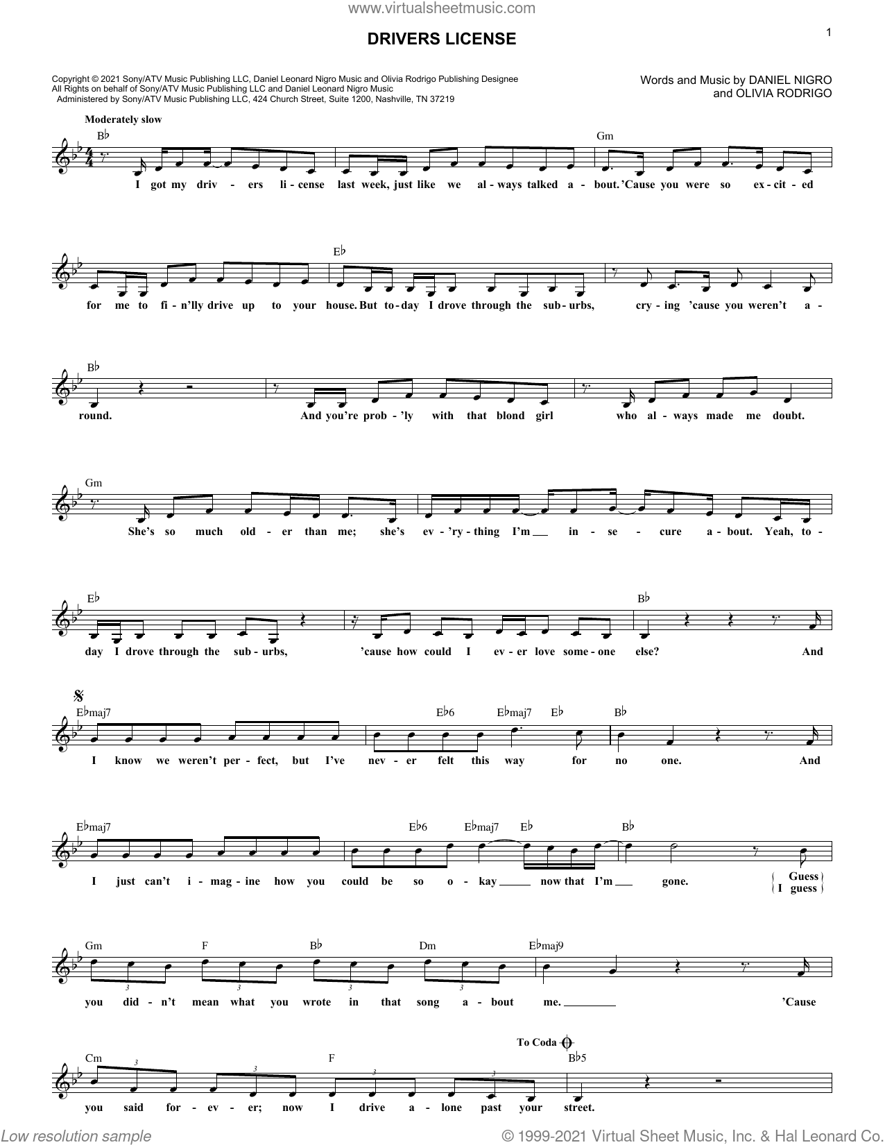 drivers license sheet music for voice and other instruments (fake book) by Olivia Rodrigo and Daniel Nigro, intermediate skill level