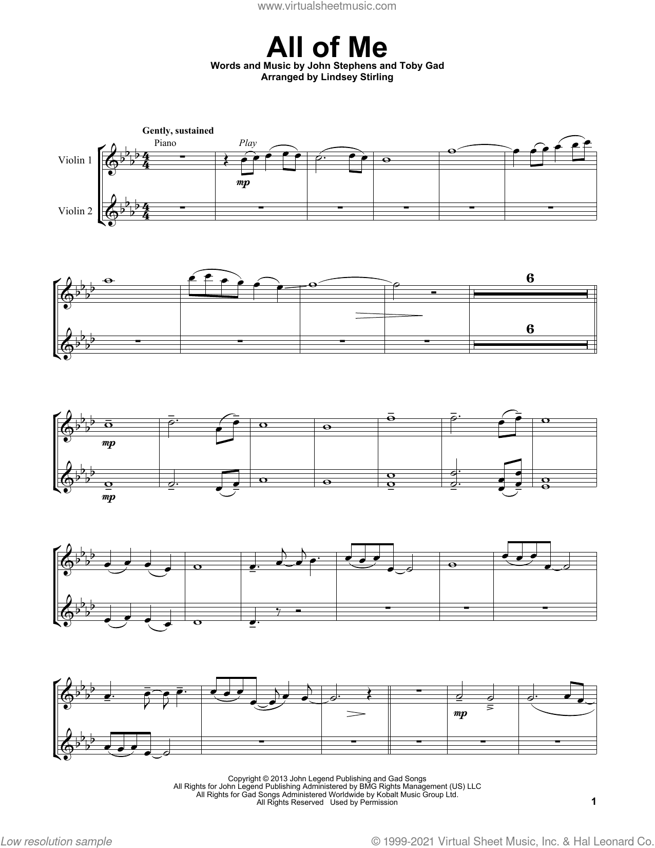 All Of Me sheet music for two violins (duets, violin duets) by Lindsey Stirling, John Legend, John Stephens and Toby Gad, intermediate skill level
