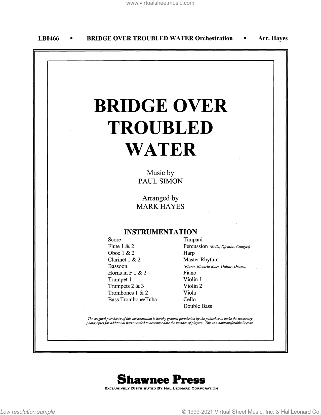 Bridge Over Troubled Water (arr. Mark Hayes) (COMPLETE) sheet music for orchestra/band by Simon & Garfunkel, Mark Hayes and Paul Simon, intermediate skill level
