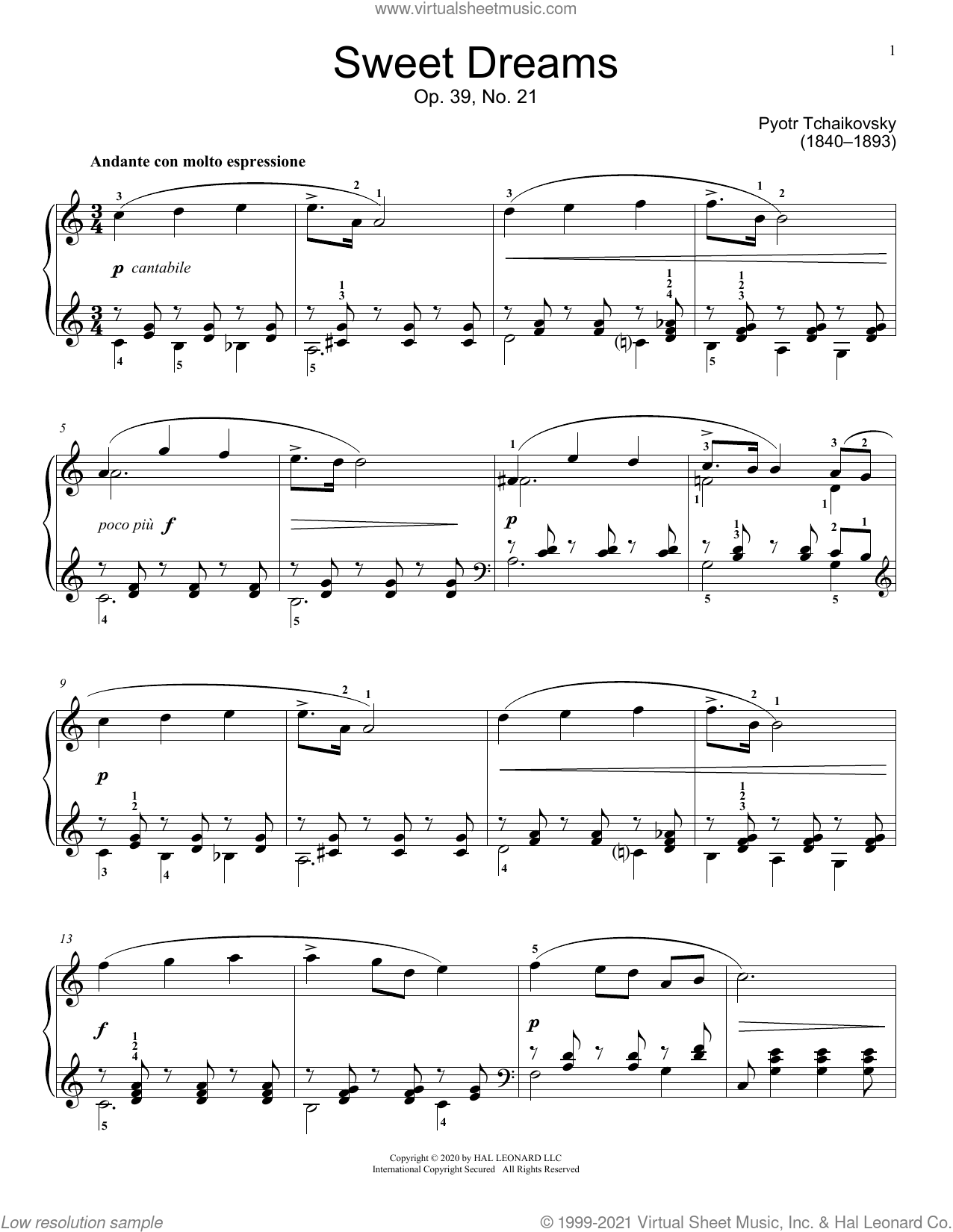 Sweet Dreams, Op. 39, No. 21 sheet music for piano solo (elementary) by Pyotr Ilyich Tchaikovsky and Jennifer Linn, classical score, beginner piano (elementary)