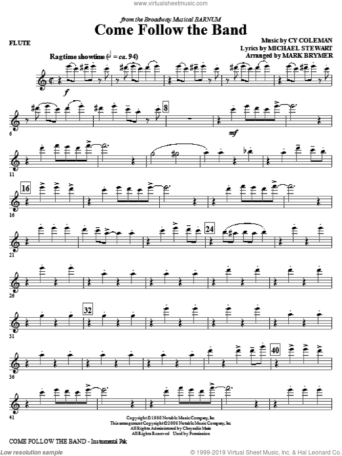 Come Follow The Band (complete set of parts) sheet music for orchestra/band by Cy Coleman, Michael Stewart and Mark Brymer, intermediate skill level