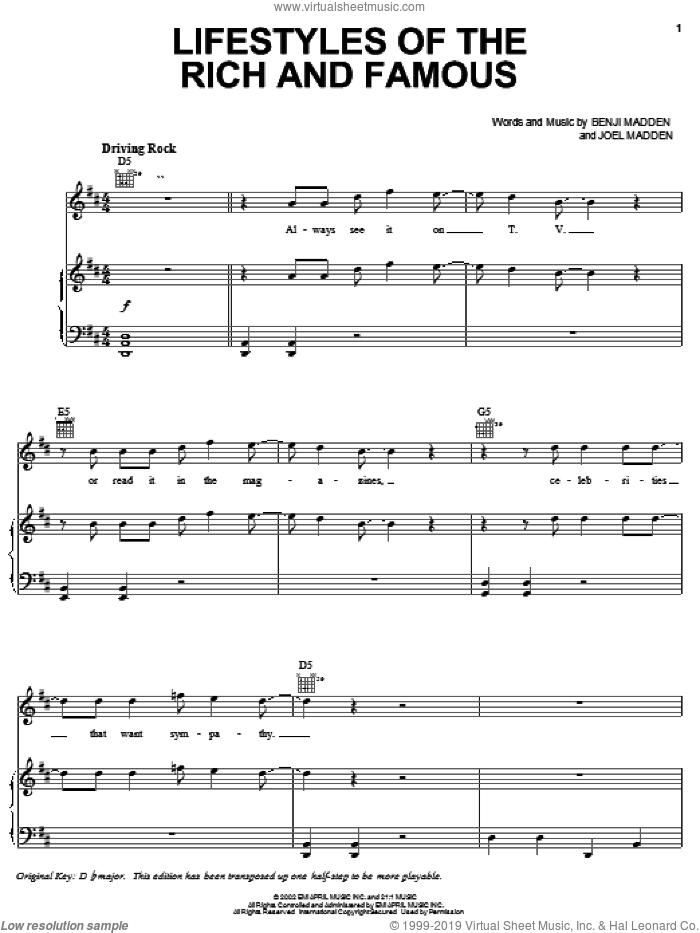 Lifestyles Of The Rich And Famous sheet music for voice, piano or guitar by Joel Combs. Score Image Preview.