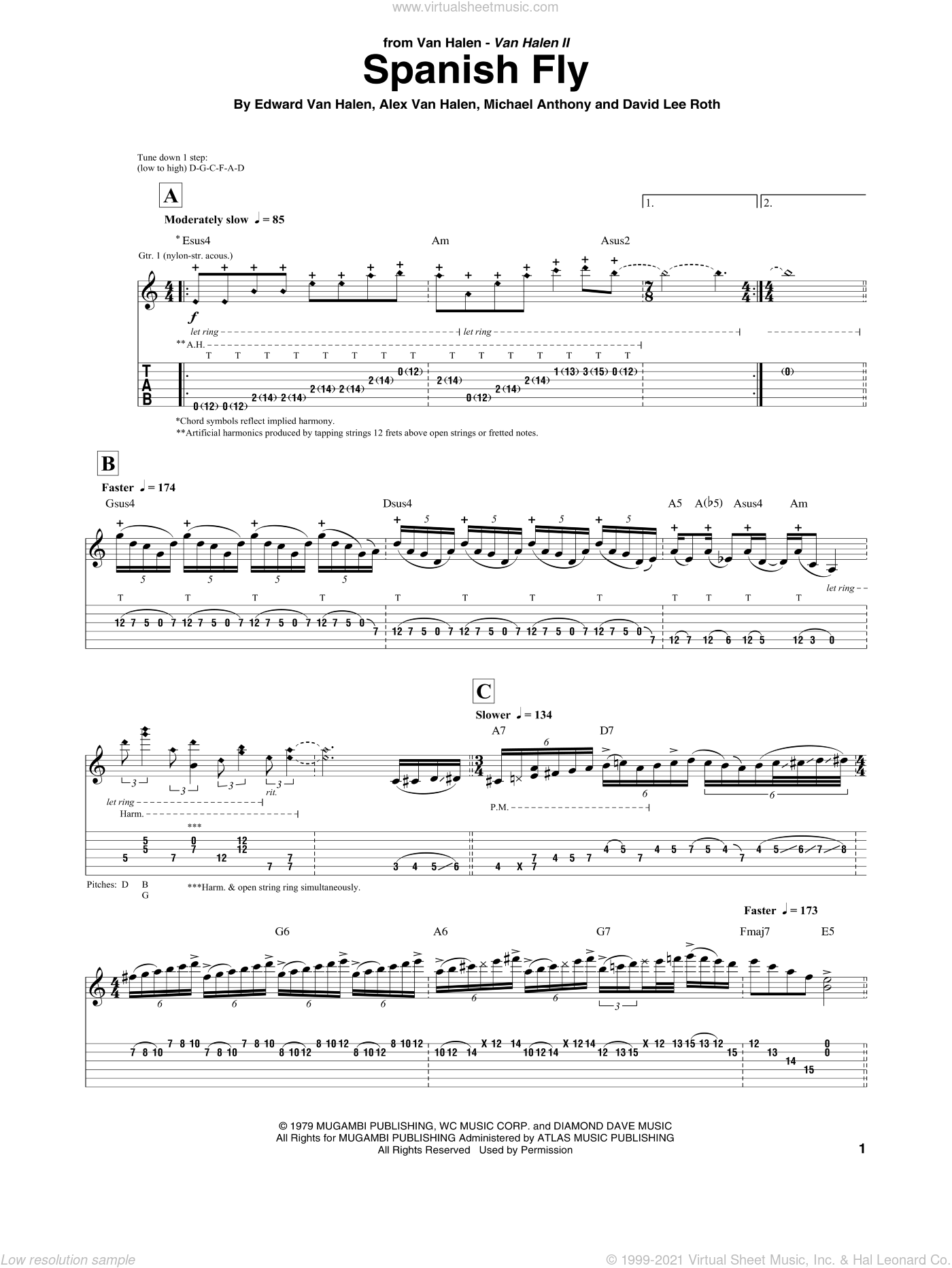 Spanish Fly sheet music for guitar (tablature) by Edward Van Halen, Alex Van Halen, David Lee Roth and Michael Anthony, intermediate