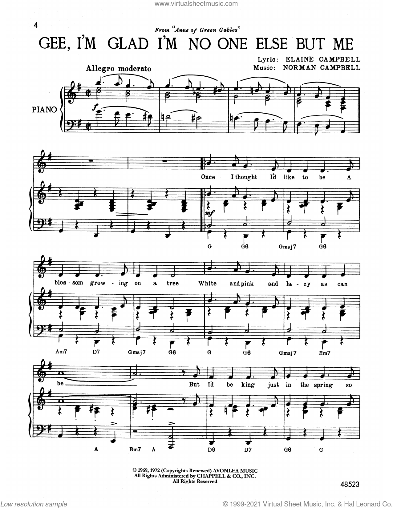Campbell   Gee, I'm Glad I'm No One Else But Me from Anne Of Green Gables  sheet music for voice and piano