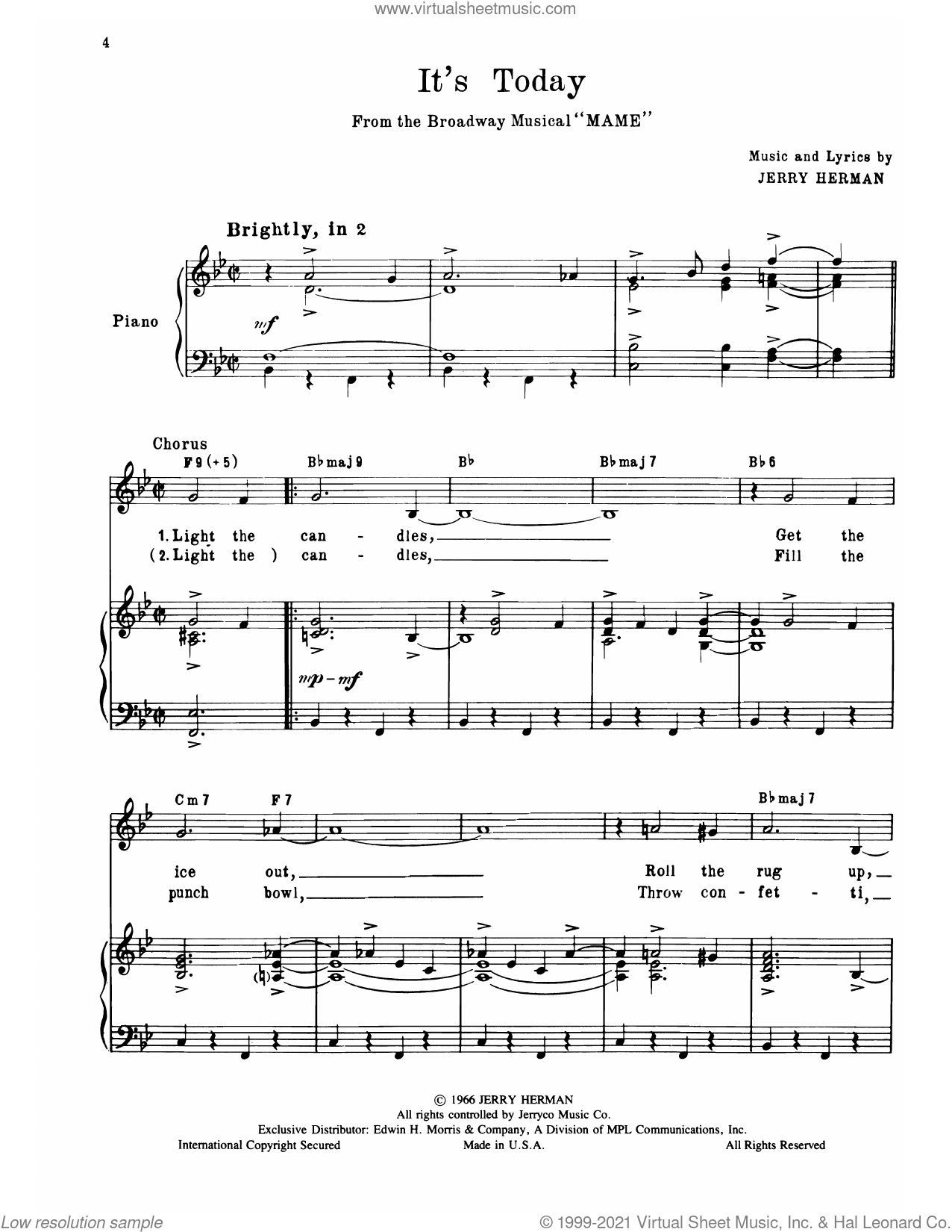 It's Today (from Mame) sheet music for voice, piano or guitar by Jerry Herman, intermediate skill level