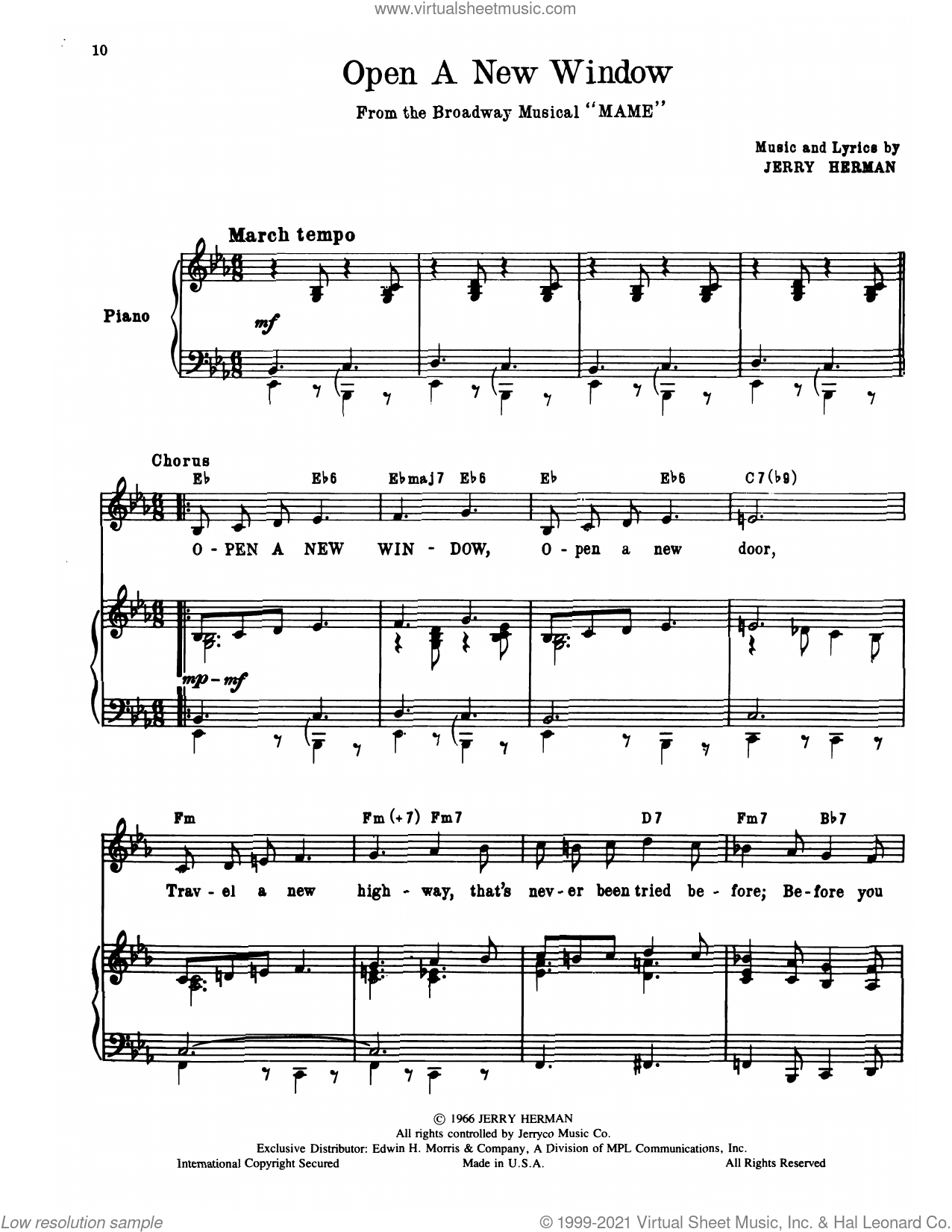 Open A New Window (from Mame) sheet music for voice, piano or guitar by Jerry Herman, intermediate skill level