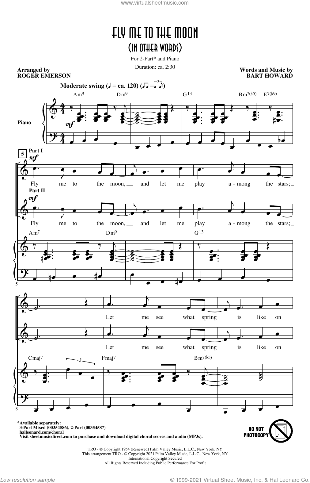 Fly Me To The Moon (In Other Words) (arr. Roger Emerson) sheet music for choir (2-Part) by Bart Howard, Roger Emerson, Frank Sinatra and Tony Bennett, intermediate duet