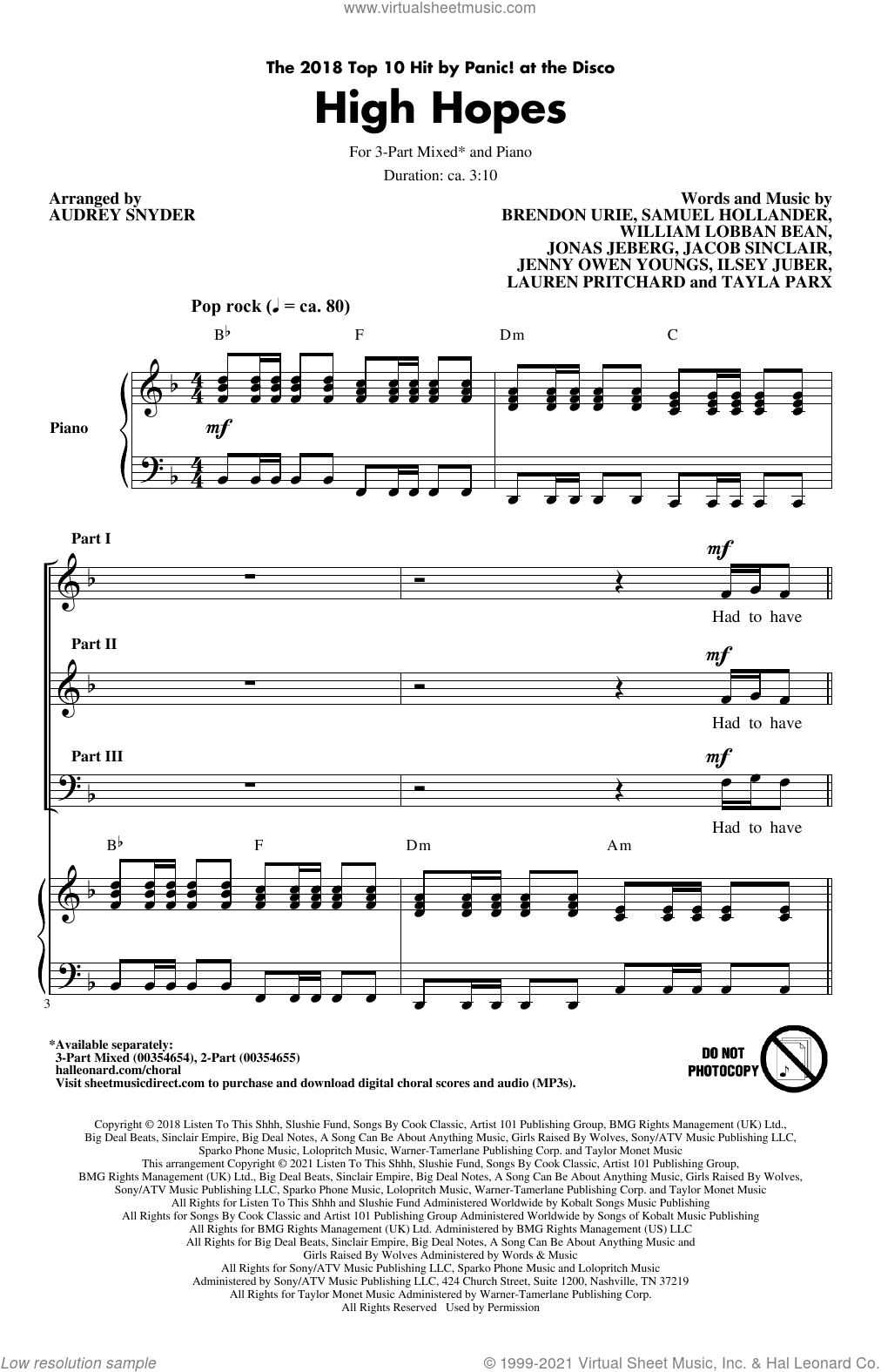 High Hopes (arr. Audrey Snyder) sheet music for choir (3-Part Mixed) by Panic! At The Disco, Audrey Snyder, Brendon Urie, Ilsey Juber, Jacob Sinclair, Jenny Owen Youngs, Jonas Jeberg, Lauren Pritchard, Sam Hollander, Tayla Parx and William Lobban Bean, intermediate skill level