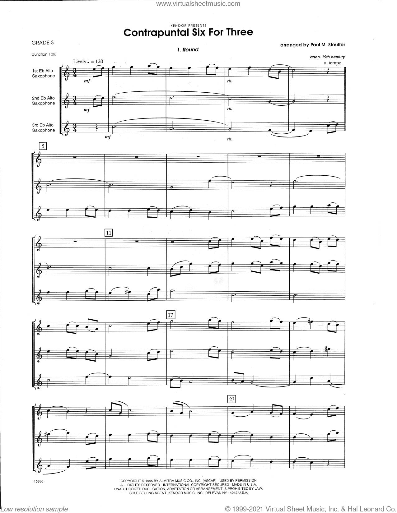 Contrapuntal Six For Three (COMPLETE) sheet music for saxophone trio by Paul M. Stouffer and Miscellaneous, classical score, intermediate skill level