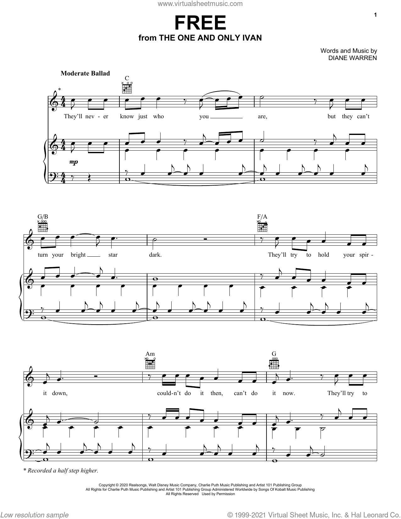 Free (from Disney's The One And Only Ivan) sheet music for voice, piano or guitar by Charlie Puth and Diane Warren, intermediate skill level