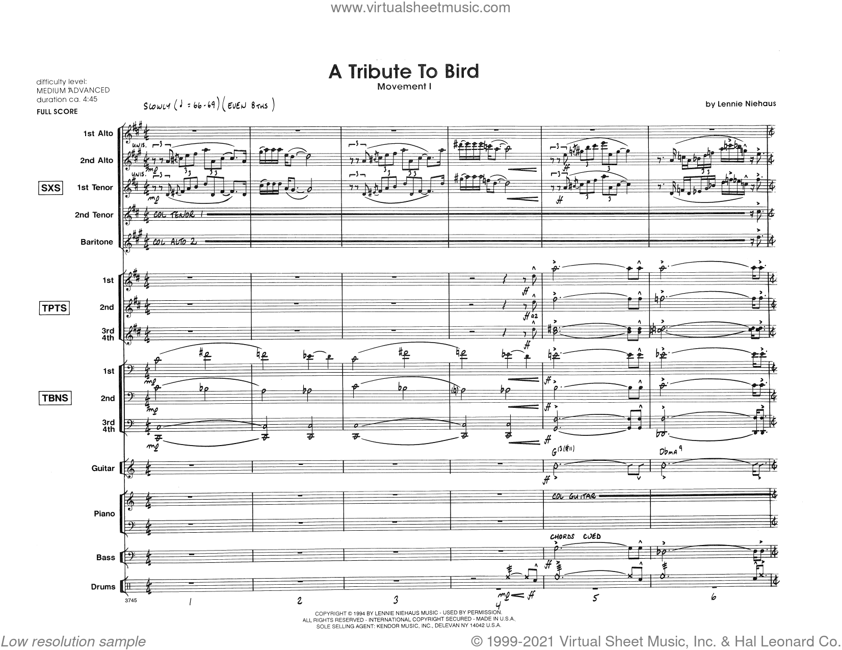 Tribute To Bird, Movement 1 (COMPLETE) sheet music for jazz band by Lennie Niehaus, intermediate skill level