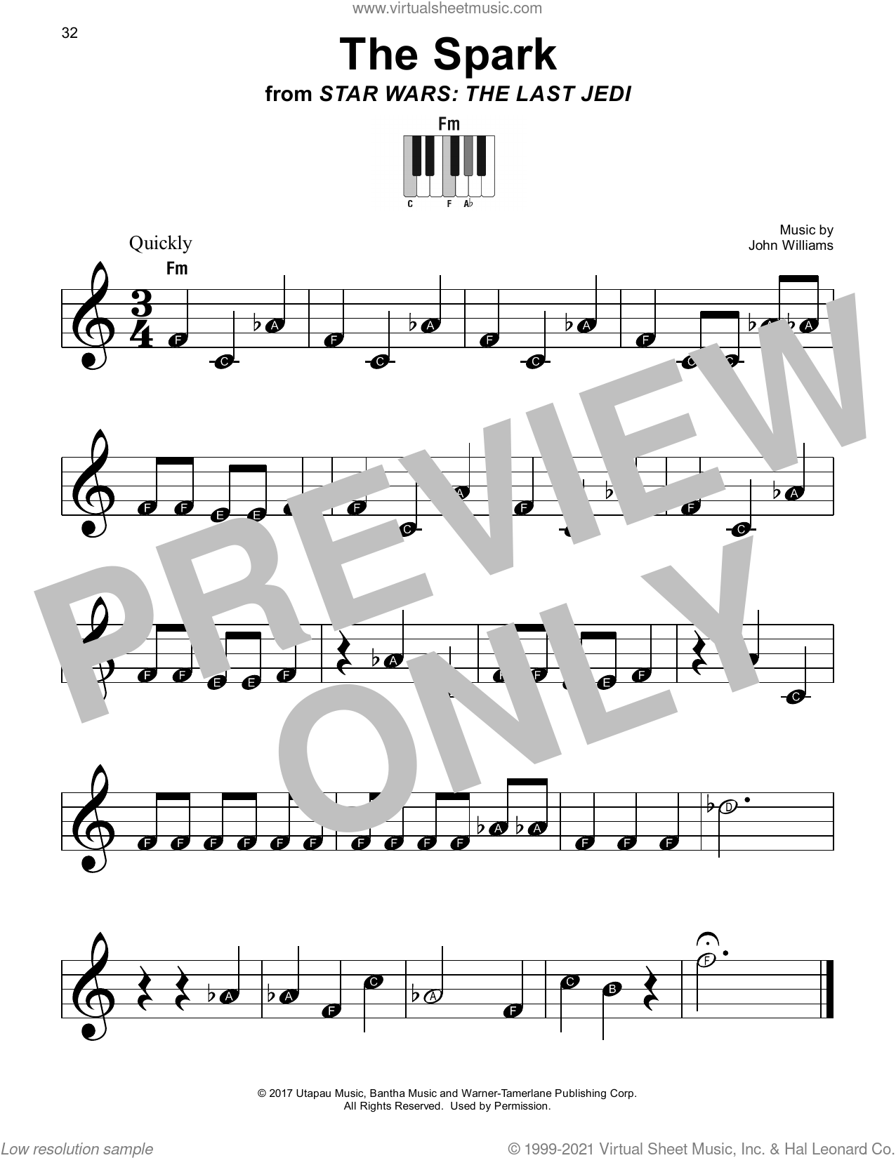 The Spark (from Star Wars: The Last Jedi) sheet music for piano solo by John Williams, beginner skill level