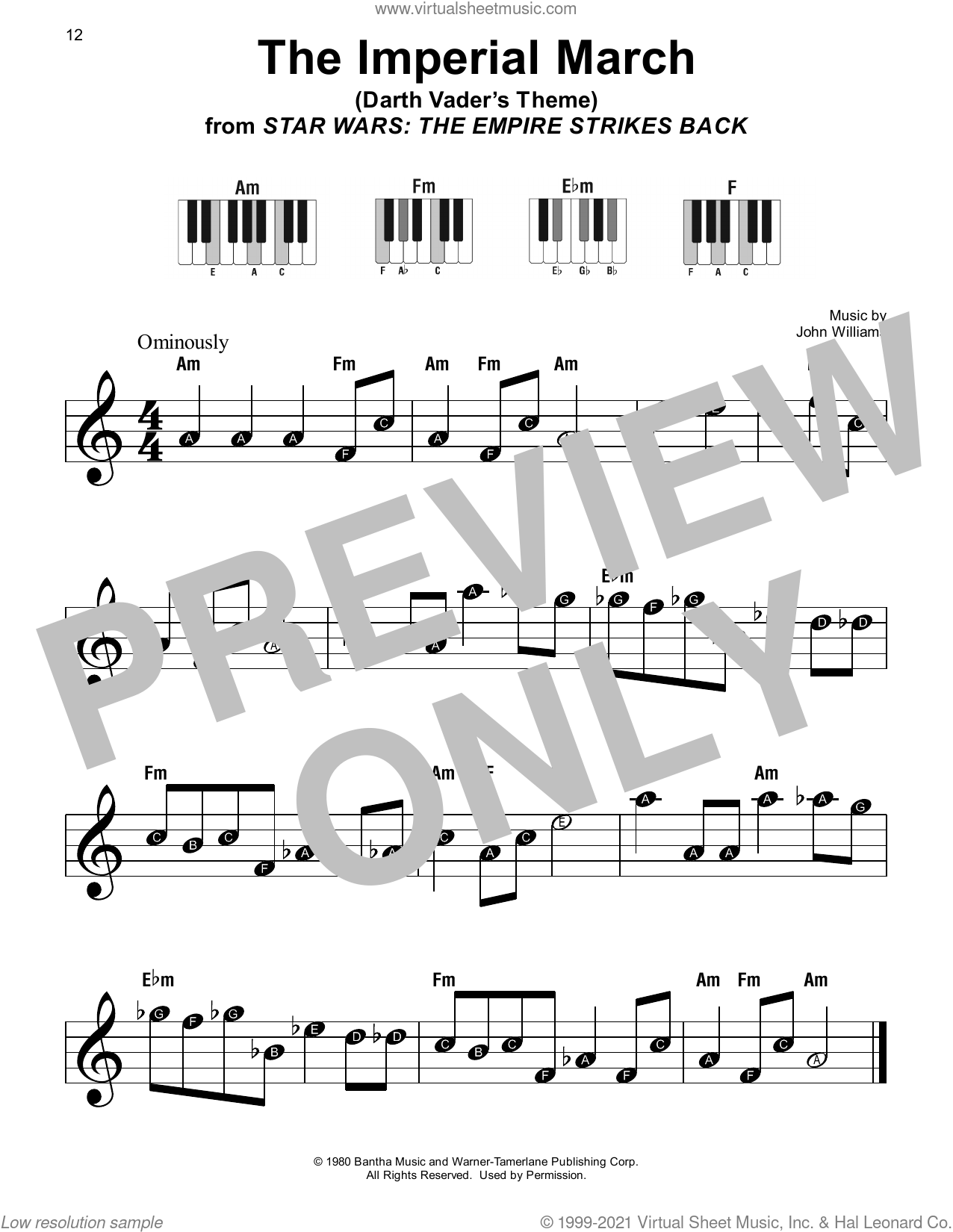 The Imperial March (from Star Wars: The Empire Strikes Back) sheet music for piano solo by John Williams, beginner skill level