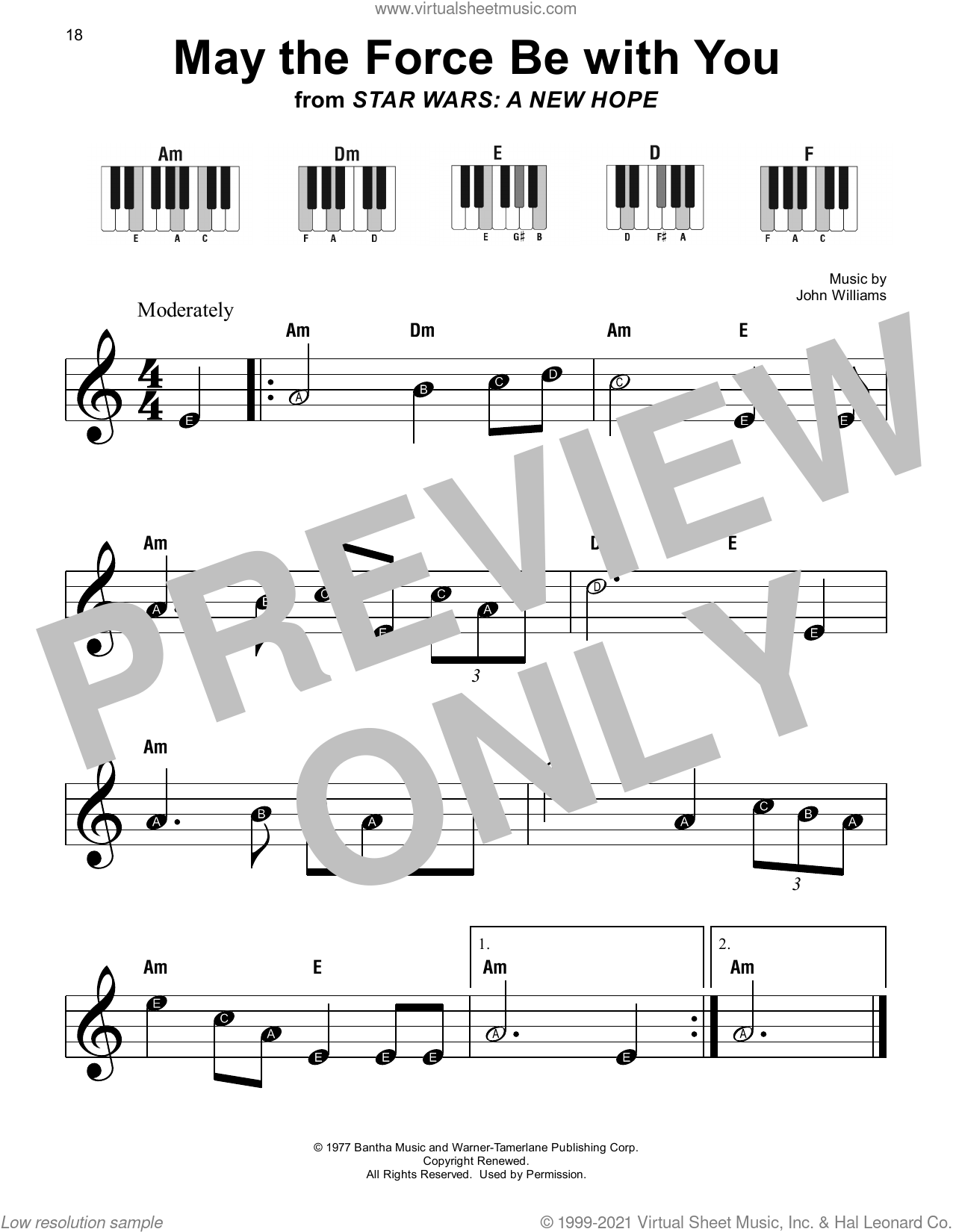 May The Force Be With You (from Star Wars: A New Hope) sheet music for piano solo by John Williams, beginner skill level