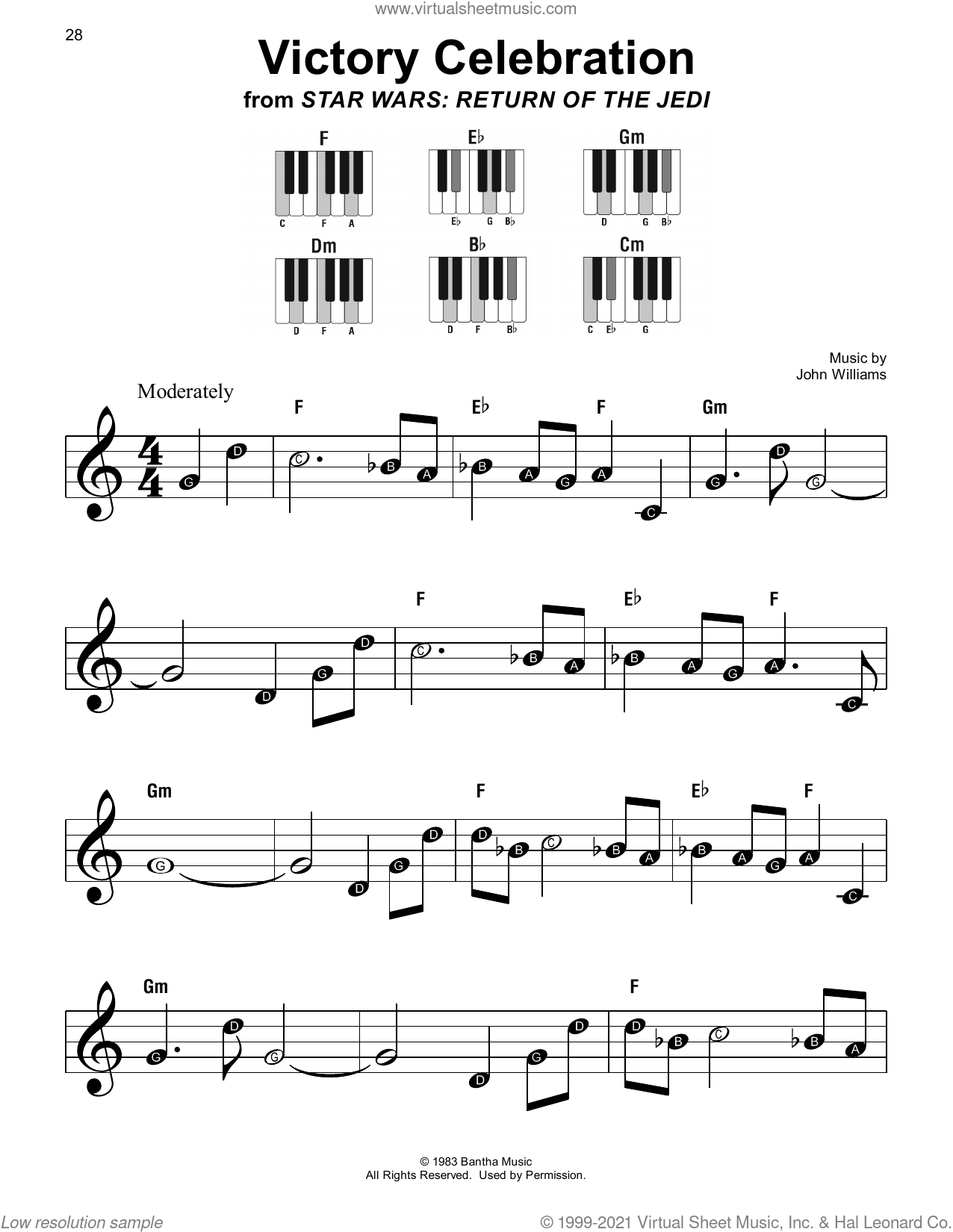 Victory Celebration (from Star Wars: Return Of The Jedi) sheet music for piano solo by John Williams, beginner skill level