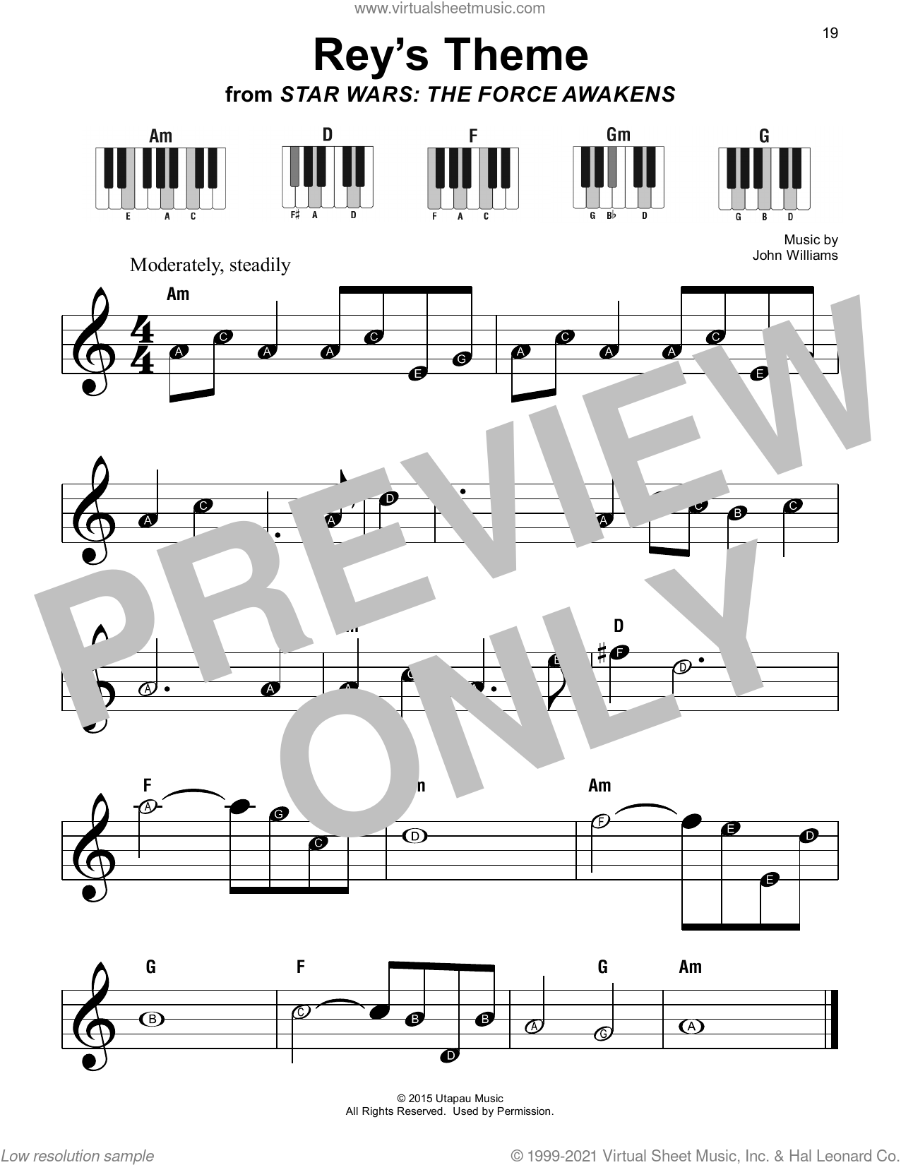 Rey's Theme (from Star Wars: The Force Awakens) sheet music for piano solo by John Williams, beginner skill level