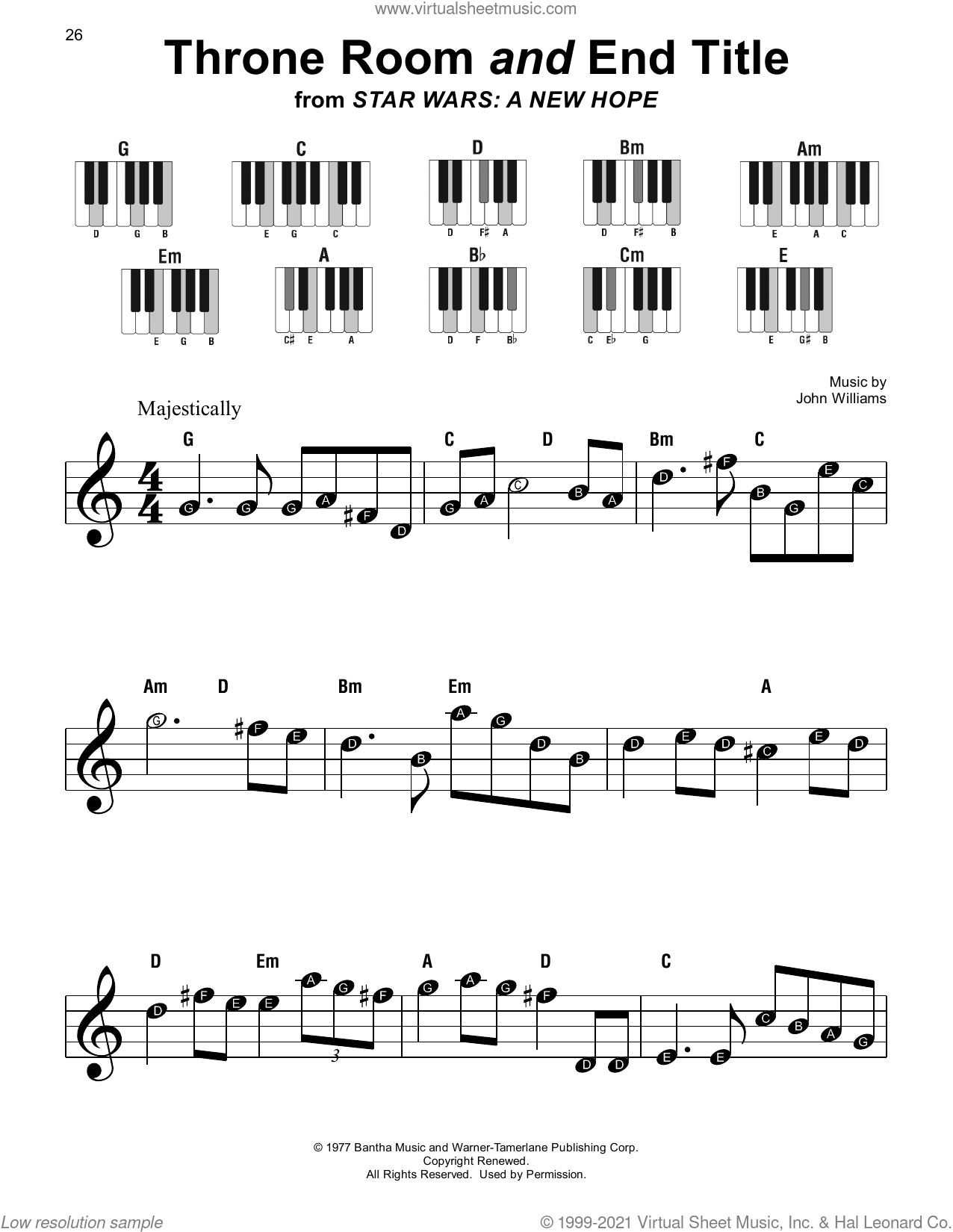 Throne Room and End Title (from Star Wars: A New Hope) sheet music for piano solo by John Williams, beginner skill level