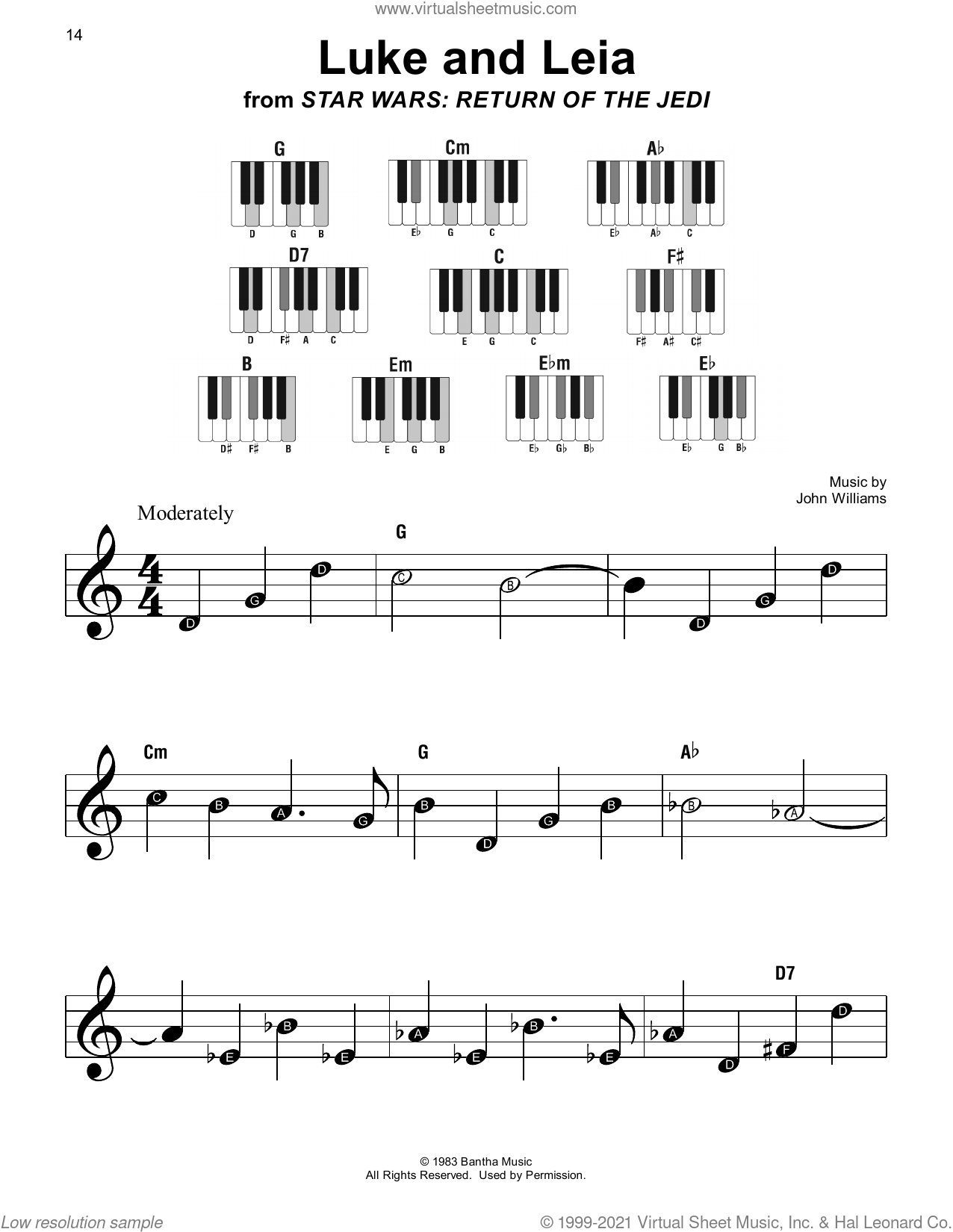 Luke And Leia (from Star Wars: Return Of The Jedi) sheet music for piano solo by John Williams, beginner skill level