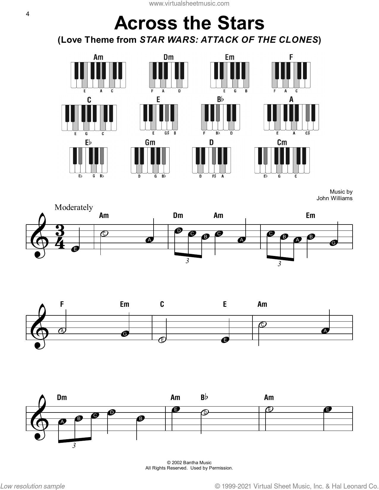 Across The Stars (Love Theme from Star Wars: Attack Of The Clones) sheet music for piano solo by John Williams, beginner skill level