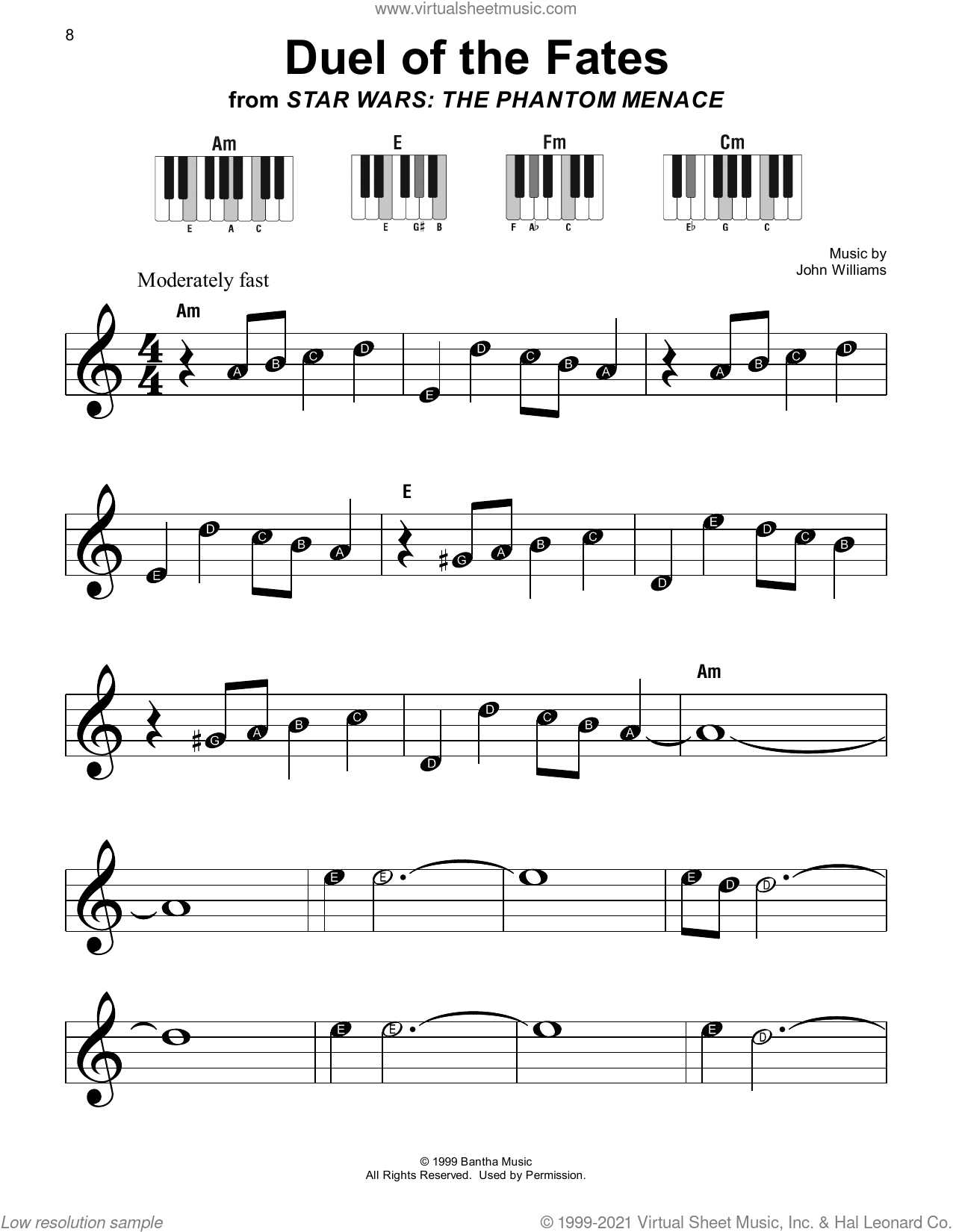 Duel Of The Fates (from Star Wars: The Phantom Menace) sheet music for piano solo by John Williams, beginner skill level