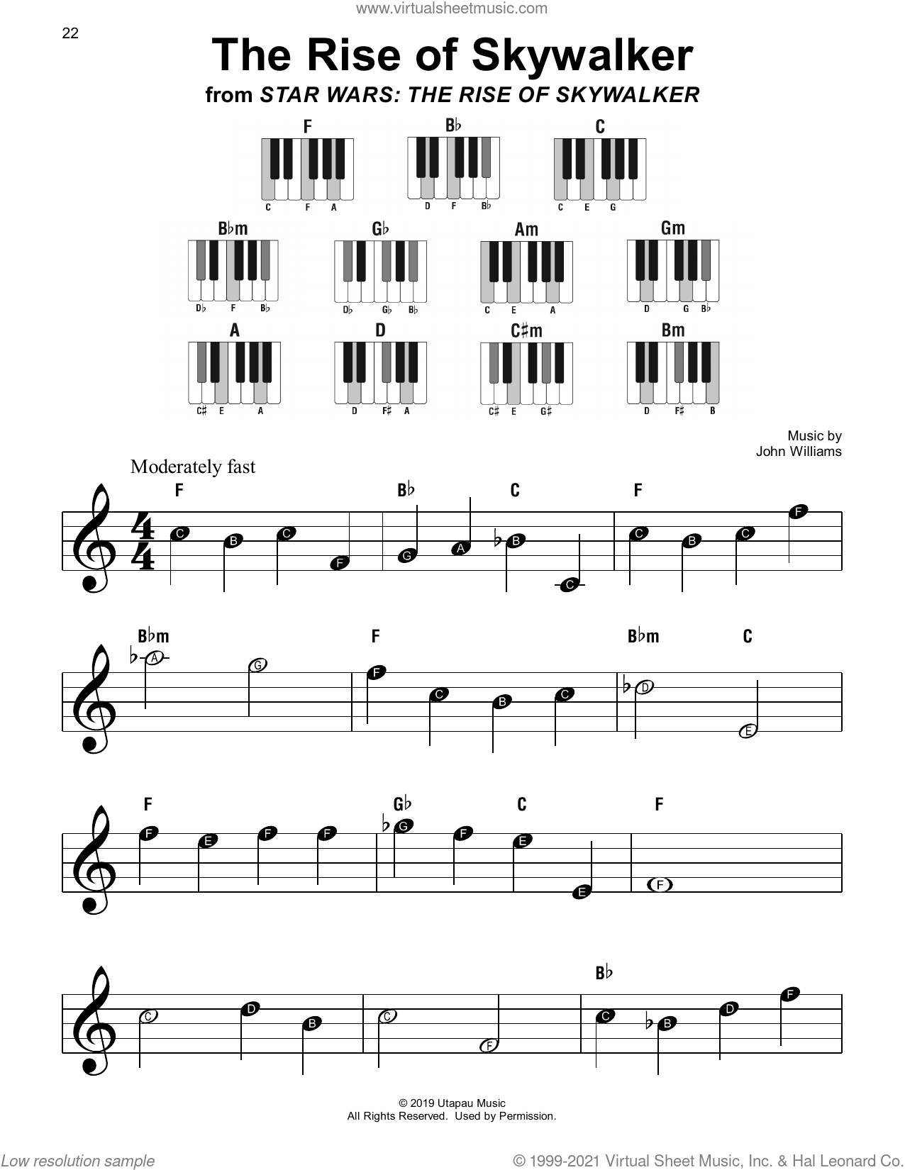 The Rise of Skywalker sheet music for piano solo by John Williams, beginner skill level