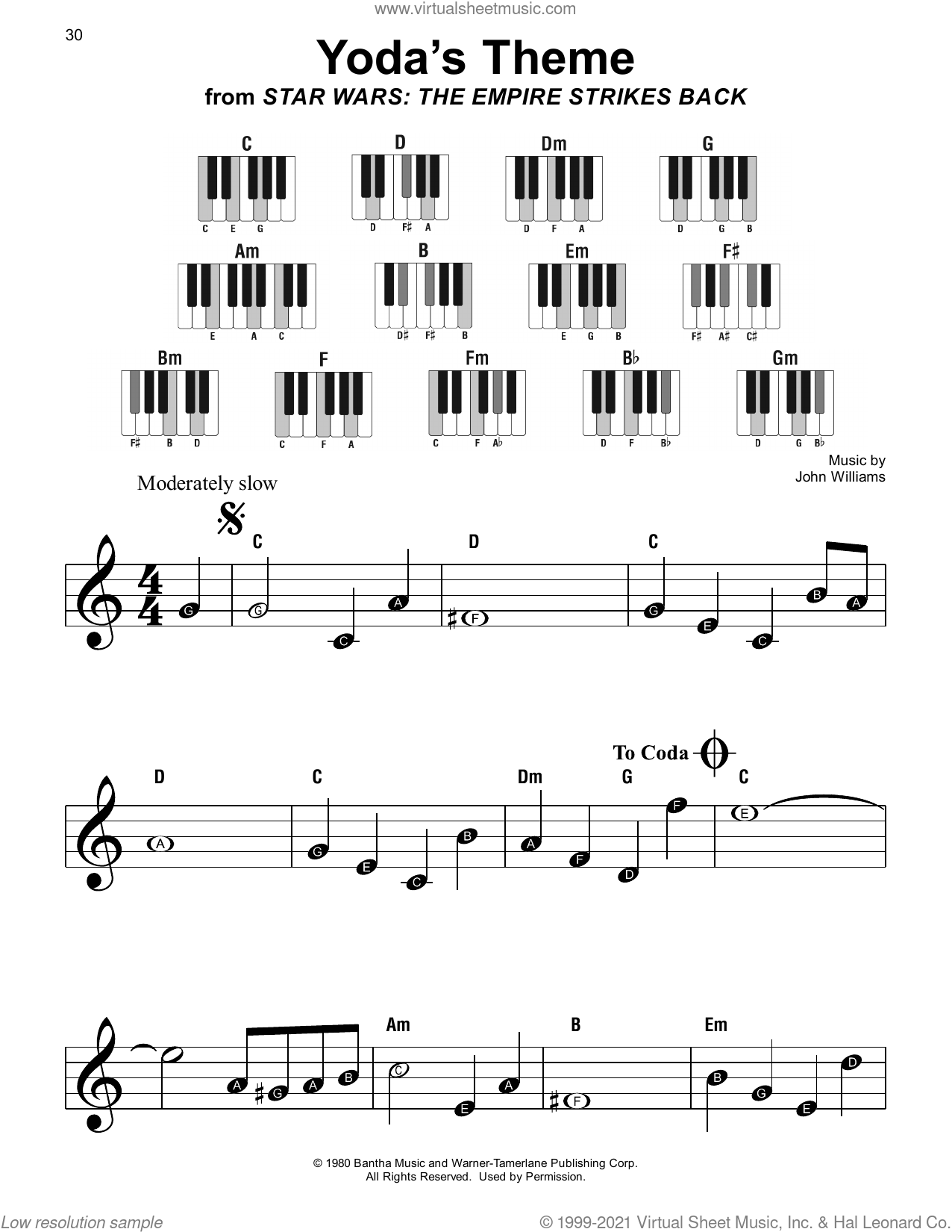 Yoda's Theme (from Star Wars: The Empire Strikes Back) sheet music for piano solo by John Williams, beginner skill level