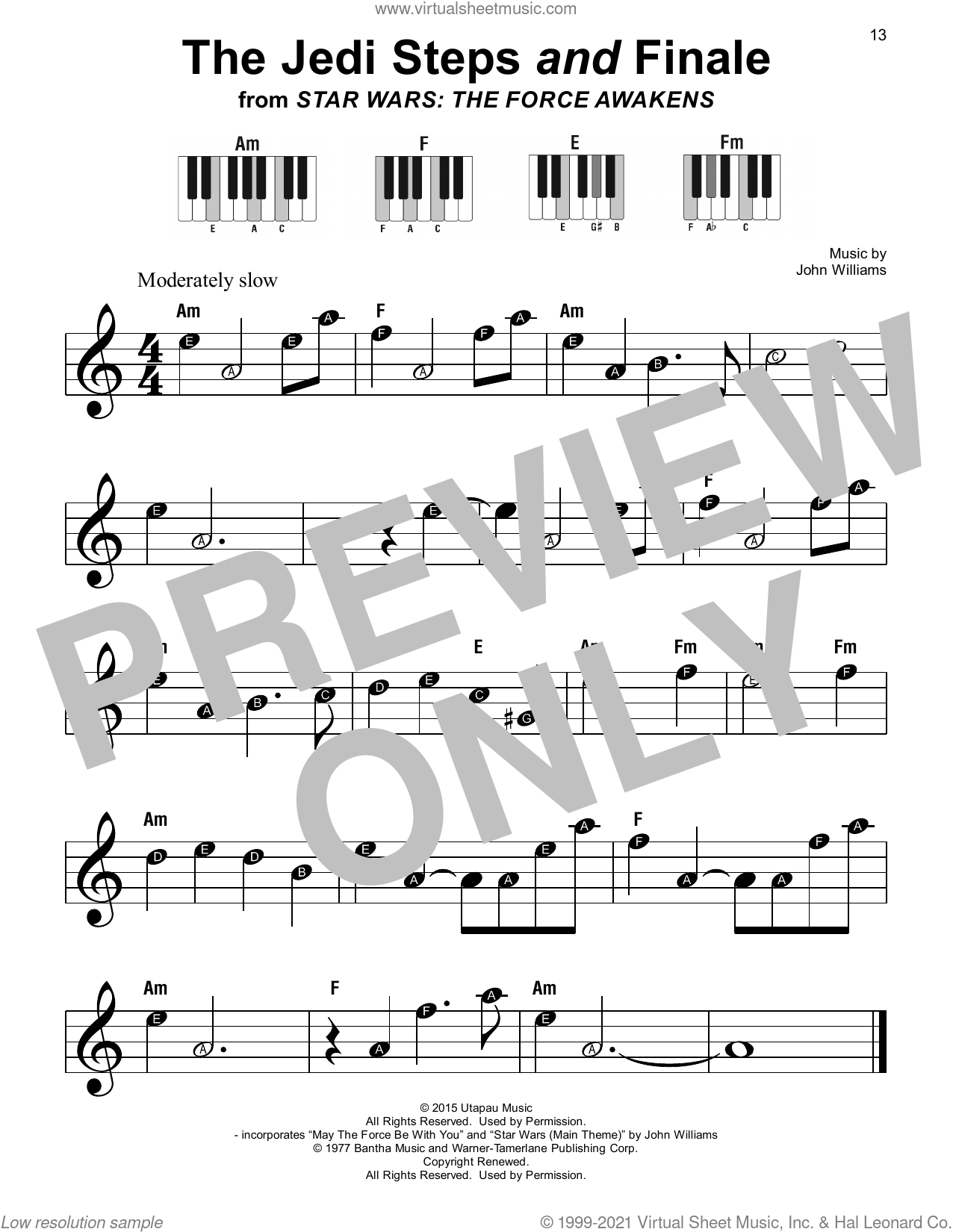 The Jedi Steps And Finale (from Star Wars: The Force Awakens) sheet music for piano solo by John Williams, beginner skill level