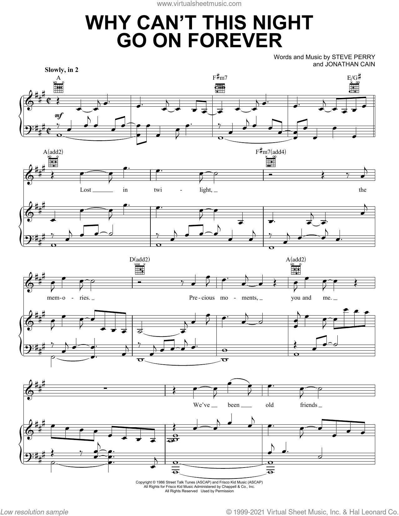Why Can't This Night Go On Forever sheet music for voice, piano or guitar by Journey, Jonathan Cain and Steve Perry, intermediate skill level