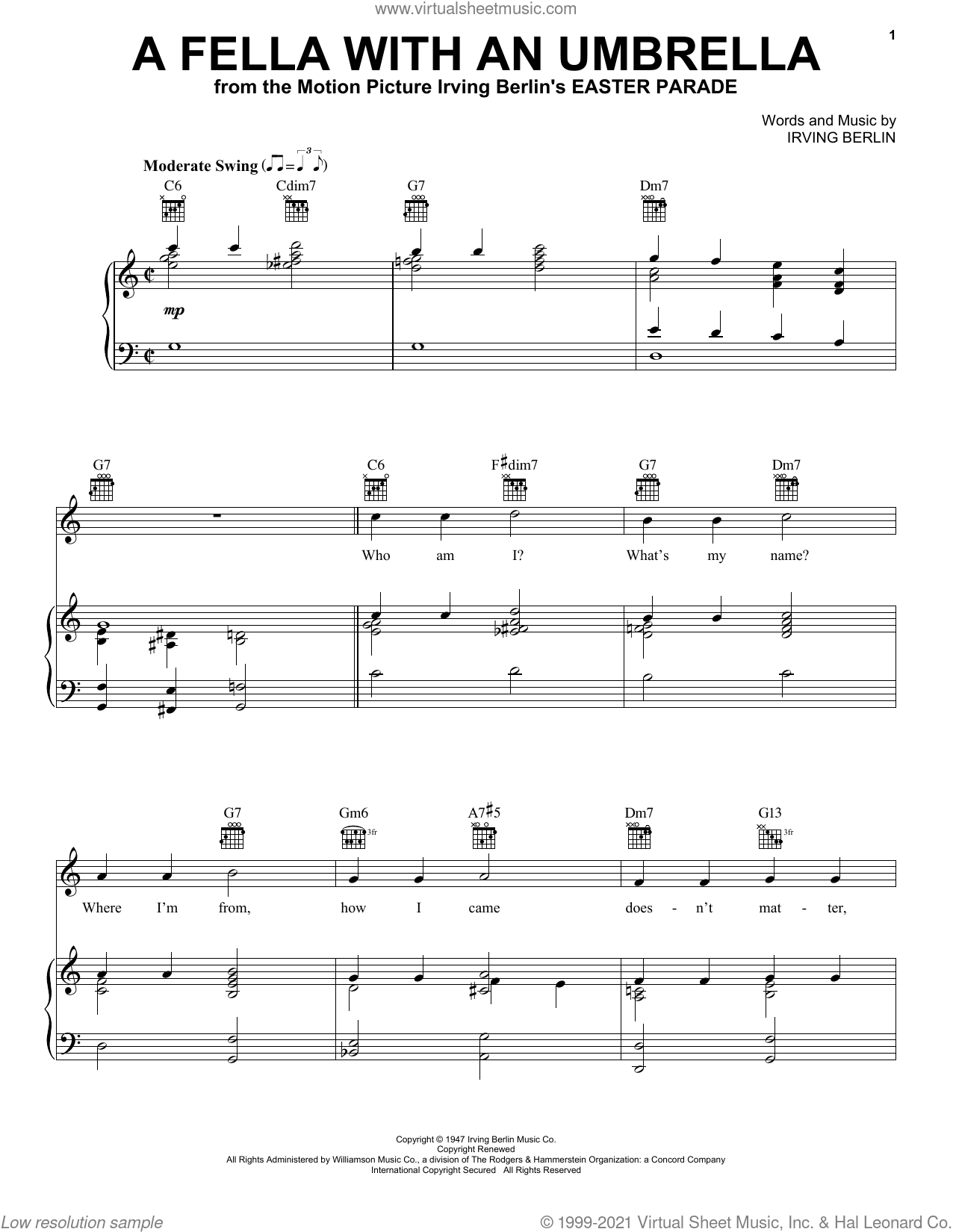 A Fella With An Umbrella (from Easter Parade) sheet music for voice, piano or guitar by Irving Berlin, intermediate skill level