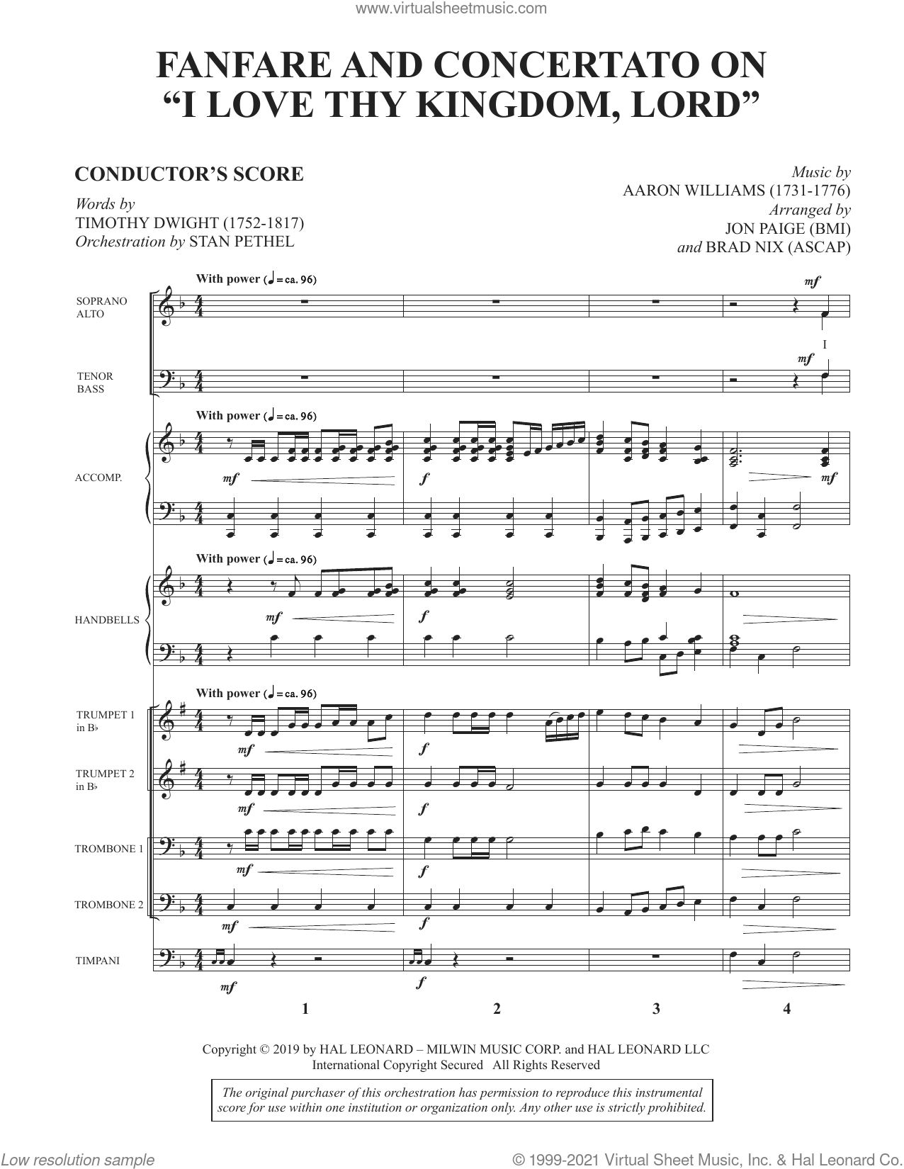 Fanfare and Concertato on 'I Love Thy Kingdom, Lord' (arr. Jon Paige and Brad Nix) sheet music for orchestra/band (full score) by Timothy Dwight, Brad Nix and Jon Paige, intermediate skill level