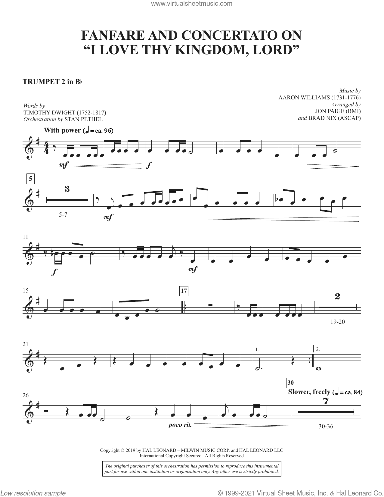 Fanfare and Concertato on 'I Love Thy Kingdom, Lord' (arr. Jon Paige and Brad Nix) sheet music for orchestra/band (Bb trumpet 2) by Timothy Dwight, Brad Nix and Jon Paige, intermediate skill level