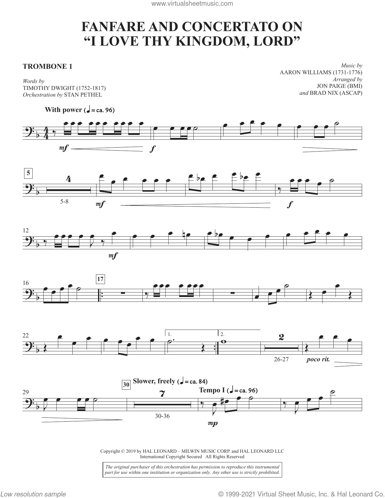 Fanfare and Concertato on 'I Love Thy Kingdom, Lord' (arr. Jon Paige and Brad Nix) sheet music for orchestra/band (trombone 1) by Timothy Dwight, Brad Nix and Jon Paige, intermediate skill level