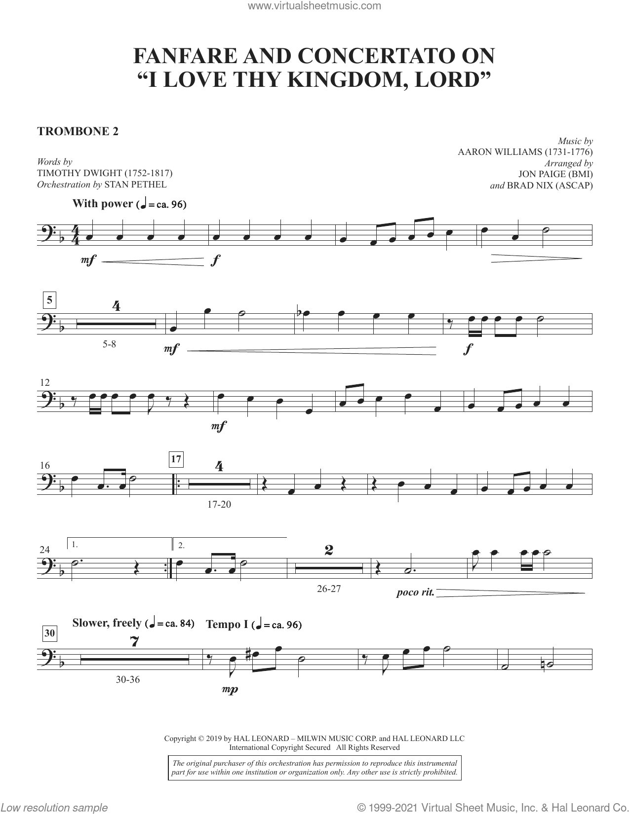 Fanfare and Concertato on 'I Love Thy Kingdom, Lord' (arr. Jon Paige and Brad Nix) sheet music for orchestra/band (trombone 2) by Timothy Dwight, Brad Nix and Jon Paige, intermediate skill level
