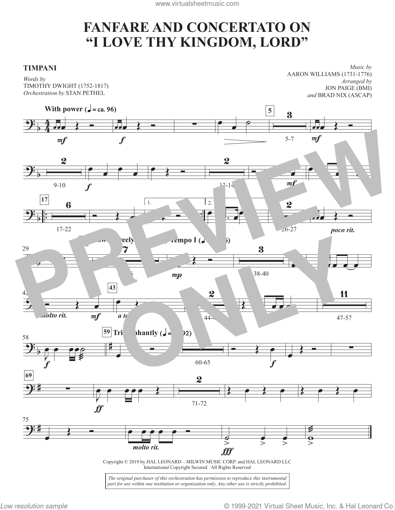 Fanfare and Concertato on 'I Love Thy Kingdom, Lord' (arr. Jon Paige and Brad Nix) sheet music for orchestra/band (timpani) by Timothy Dwight, Brad Nix and Jon Paige, intermediate skill level